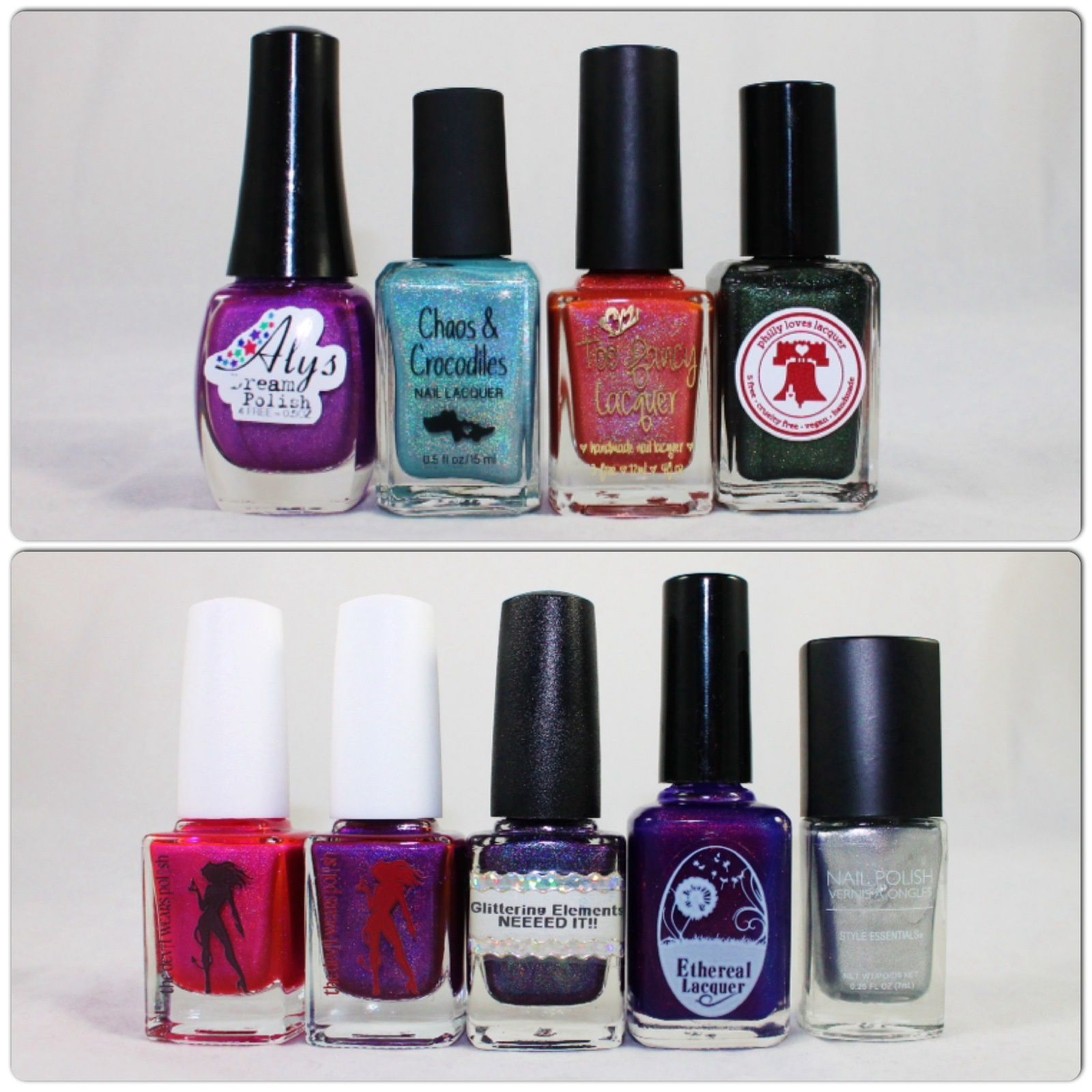 Dazzled Holograil Box Aly's Dream Polish Yuna, Chaos & Crocodiles Blue beary, Too Fancy Lacquer Mario's Attack, Philly Loves Lacquer Hero's Shade. The Devil Wears Polish Pink Panther & Dang! Glittering Elements Neeeed it!! Ethereal Lacquer Worlds Apart & Nail Polish Style Essentials Silver