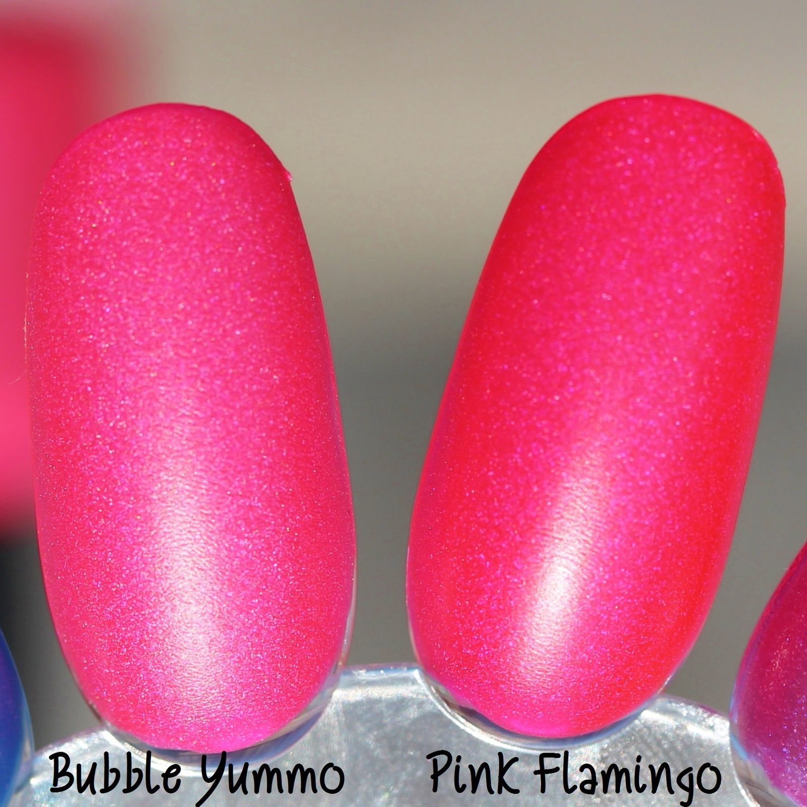 Lilypad Lacquer Bubble Yummo (left) and Lilypad Lacquer Pink Flamingo (right)