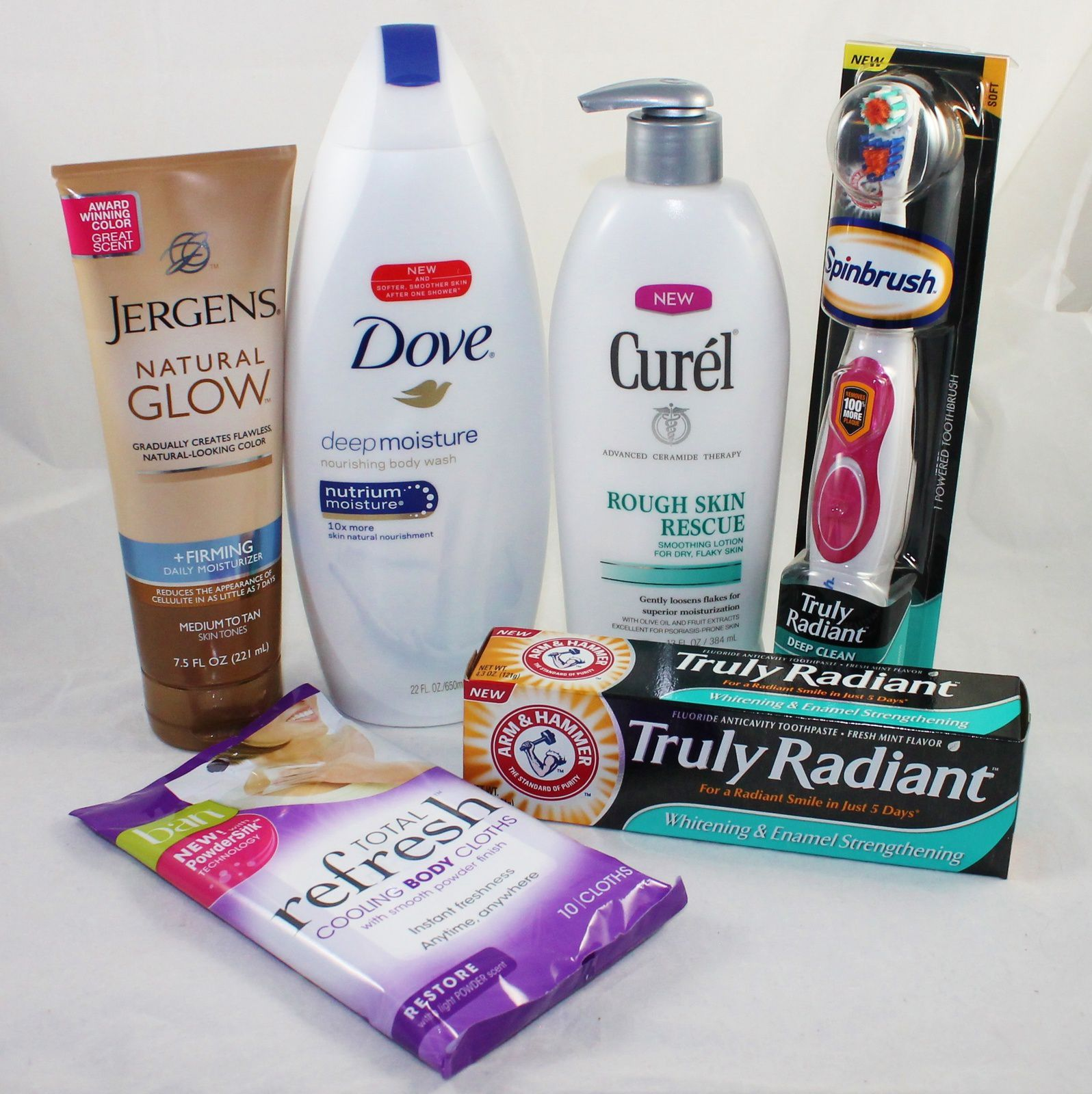 Jergens Natural Glow + Firming Daily Moisturizer, Dove Deep Moisture Nourishing Body Wash, Curel Rough Skin Rescue, Arm & Hammer Spin Brush Truly Radiant, Arm & Hammer Truly Radiant Toothpaste & BAN Total Refresh Cooling Body Wipes