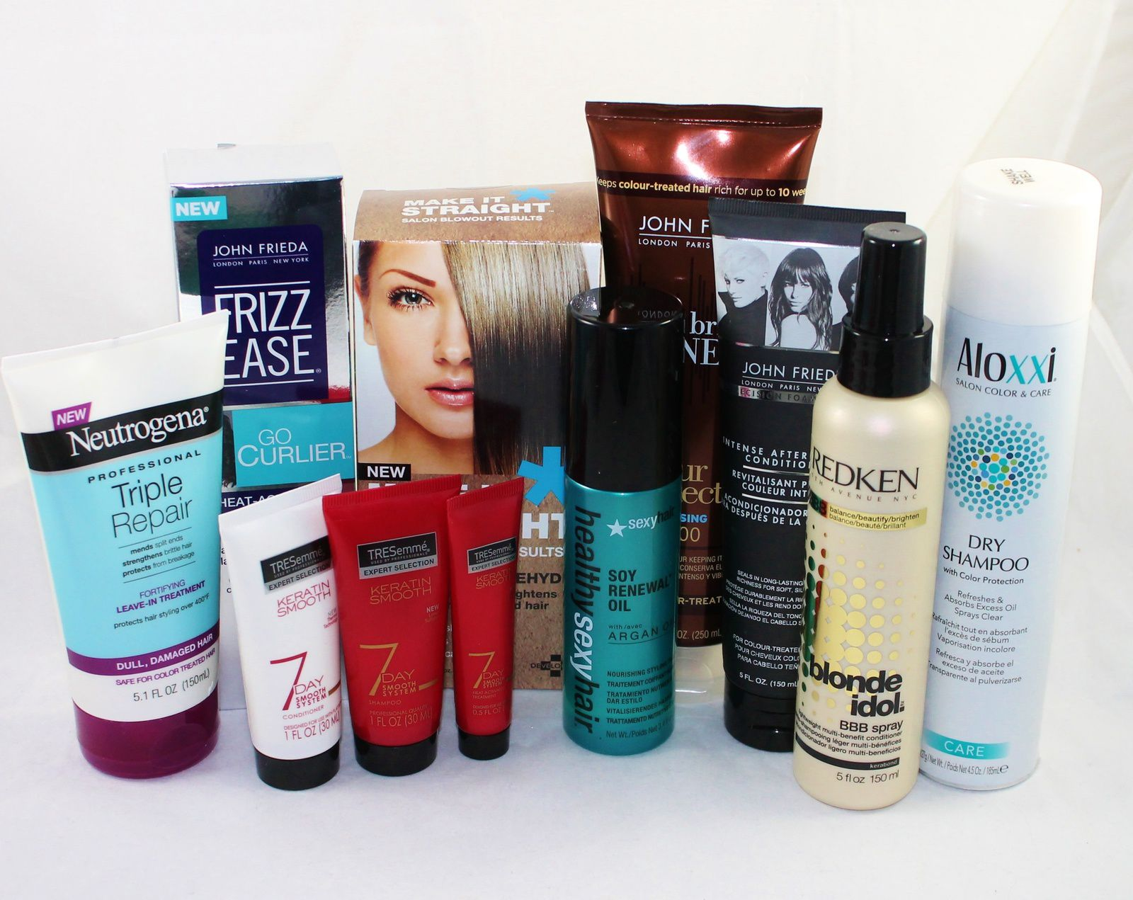 Neutrogena Triple Repair Fortifying Leave In Treatment, TRESemme Keratin Smooth 7 Day Smooth Control Starter Set, Healthy Sexy Hair Soy Renewal Oil Nourishing Styling Treatment, John Frieda Precision Foam Colour Intense After Colour Conditioner, Redken Blonde Idol BBB Spray, Aloxxi Dry Shampoo, John Frieda Brilliant Brunette Colour Protecting Shampoo, Make It Straight & John Frieda Frizz Ease Go Curlier Heat Activated Spray