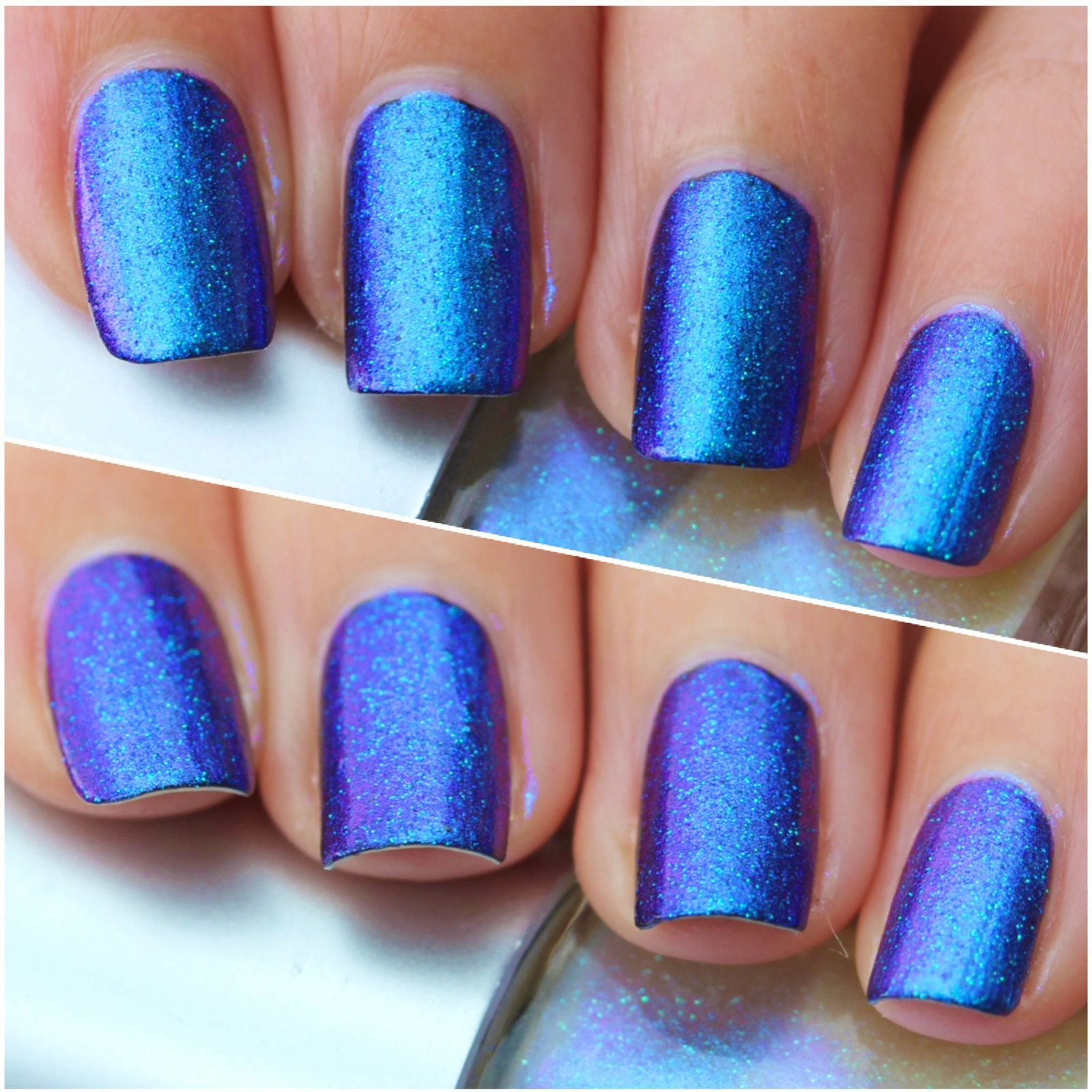 Pink Dipsy Bulle Black Hole is a Cyan, blue and purple multichrome with multichrome micro glitter that shift from green to blue.
