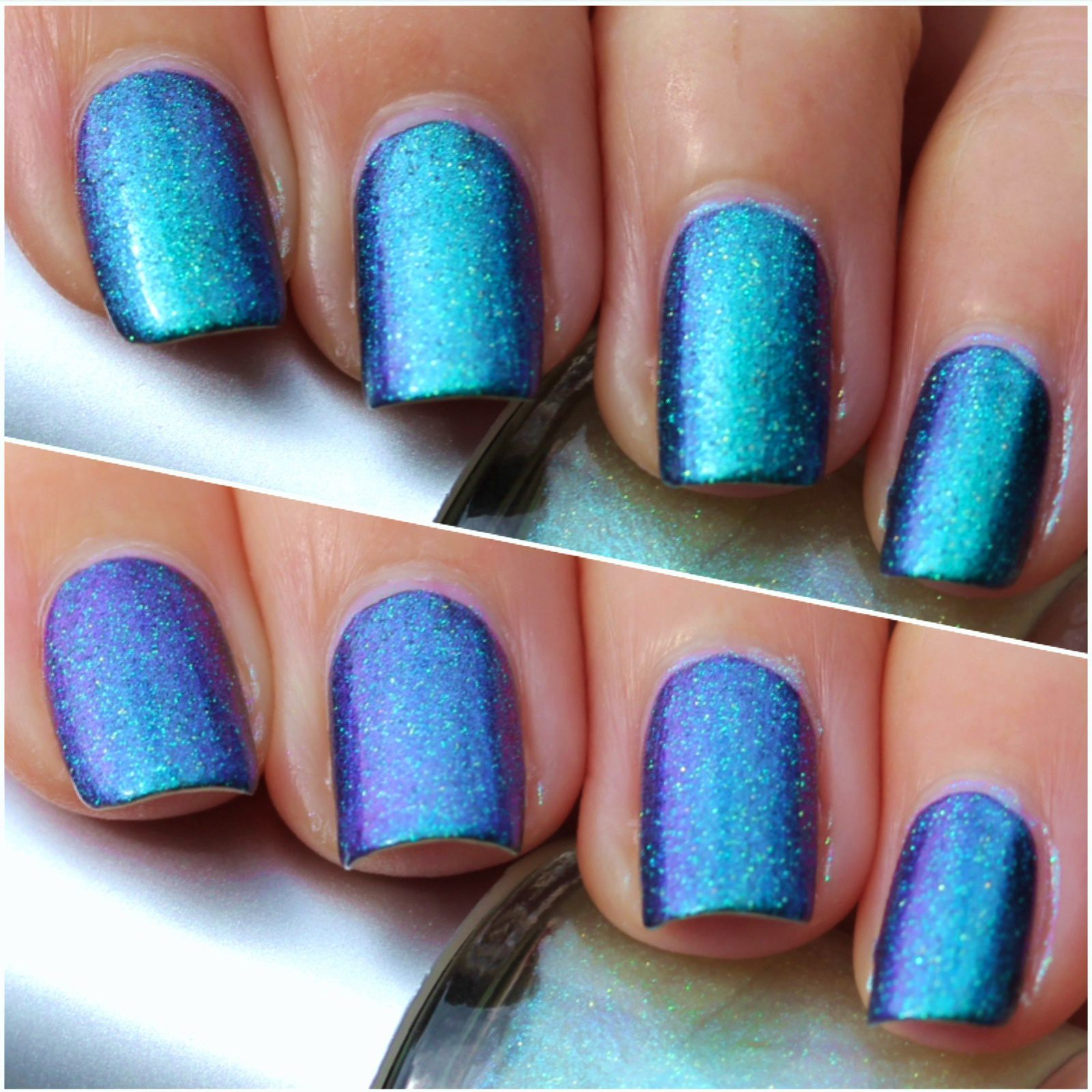 Pink Dipsy Bulle Nebula is a teal blue and purple multichrome with multichrome micro glitter that shift from gold to green.