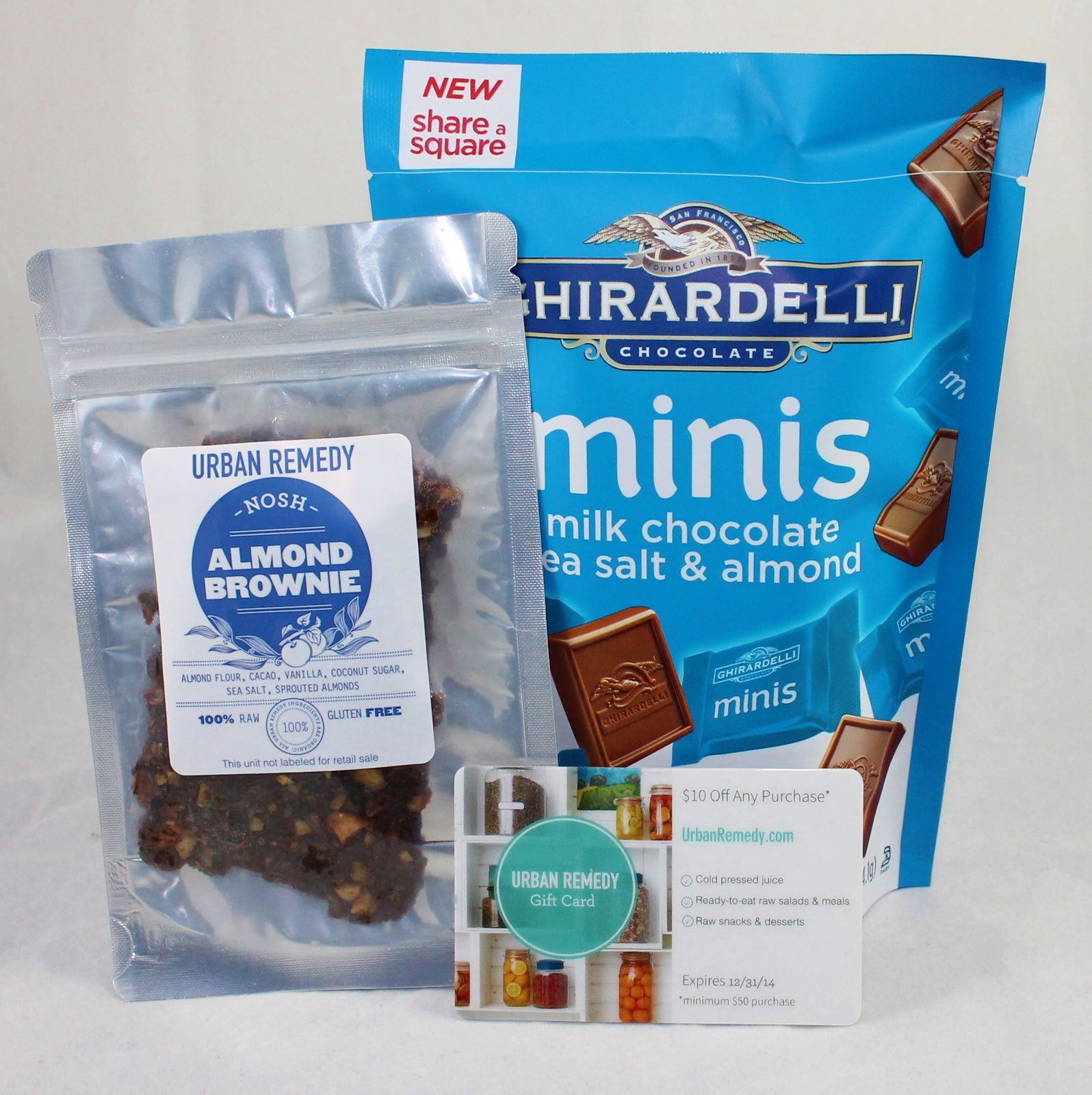 Urban Remedy Almond Brownie (+ coupon) & Ghirerdelli Milk Chocolate Sea Salt and Almond Minis.