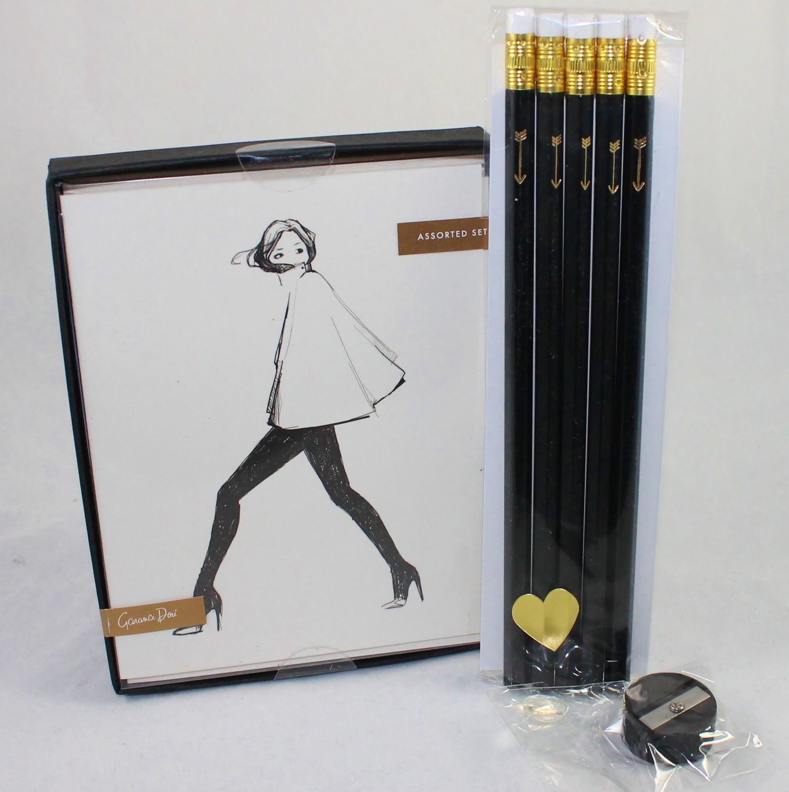 Rifle Paper Co. Garance Doré Assorted Girls Set & Letter C Design Gold Foil Arrow Pencils