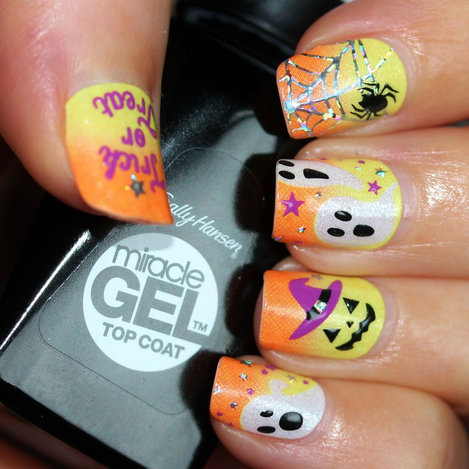 Sally Hansen Complete Care 4-in-1 Extra Moisturizing Nail Treatment / Kiss Nail Dress Halloween HKDS15 / Sally Hansen Miracle Gel Top Coat