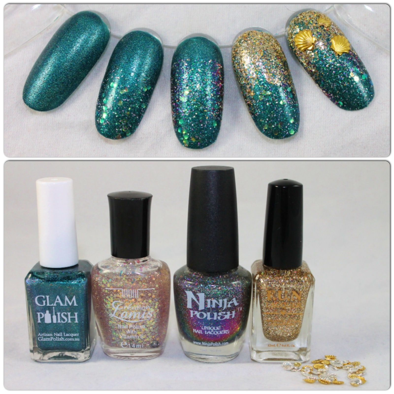 Essie Protein Base Coat / Glam Polish Paranormal / Creation Lamis Iridescent Glitter / Ninja Polish Nebula / FUN Lacquer King / Born Pretty Store Seashell studs / Poshe Top Coat