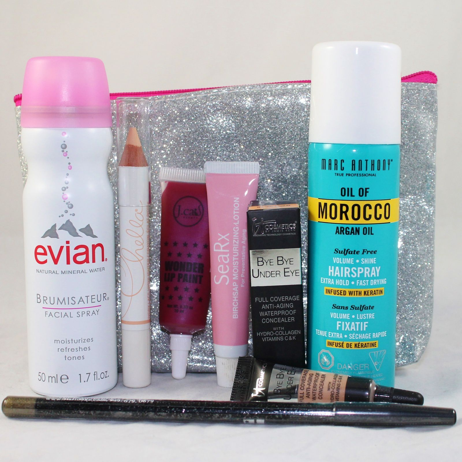 (Evian Brumisateur Mineral Water Facial Spray & Chella Ivory Lace Highlighter Pencil) SeaRx Birch Sap Moisturizing Lotion, IT Cosmetics Bye Bye Under Eye® in Neutral medium, J. Cat Beauty Wonder Lip Paint in Mad Splatter, Marc Anthony Oil of Morocco Argan Oil Volume Shine Hairspray & Starlooks Gem Eye Pencil in Ultra Olive