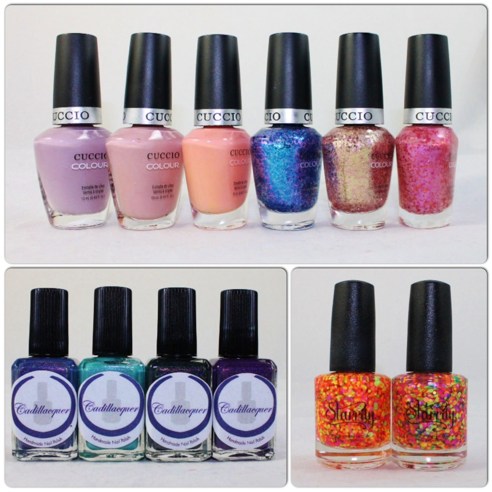 Cuccio Longing for London, Bologna Blush, Life's a Peach, Illumination, Chemical Attraction, Opposites Attract. Cadillacquer Welcome to Charming, The Rest is Silence, Day is Gone, Cap'n Cook. Starrily Gumballs, Unicorn Horn.