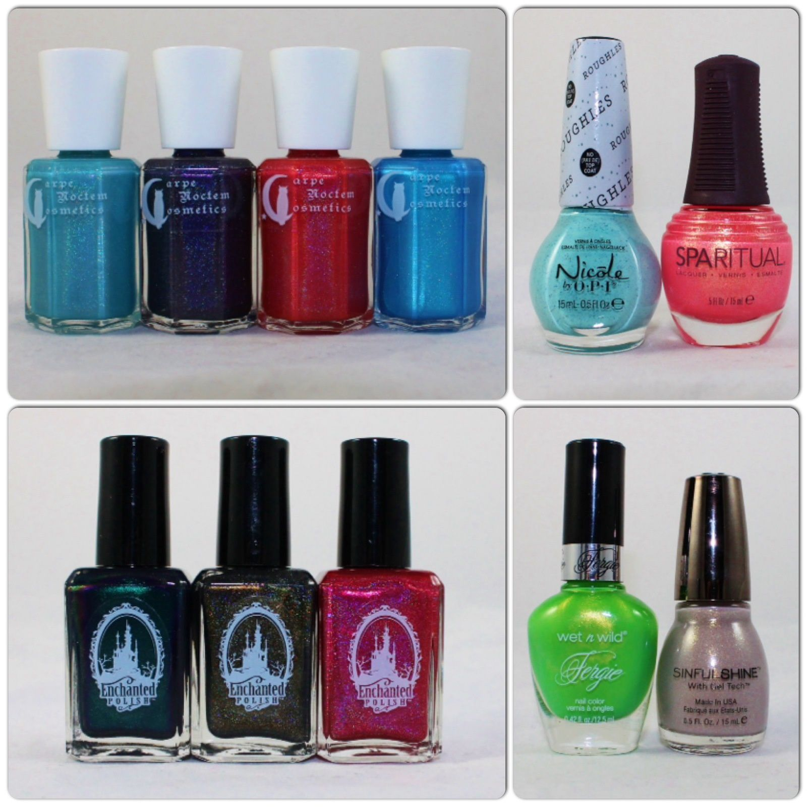 Carpe Noctem Cosmetics Olaf!, Midnight Madness, Princess Ariel, King Triton. Nicole by OPI On What Grounds? Sparitual Wilderness. Enchanted Polish August 2014, October 2014, September 2014. Wet'n Wild Glowstick. Sinful Colors Procecco.