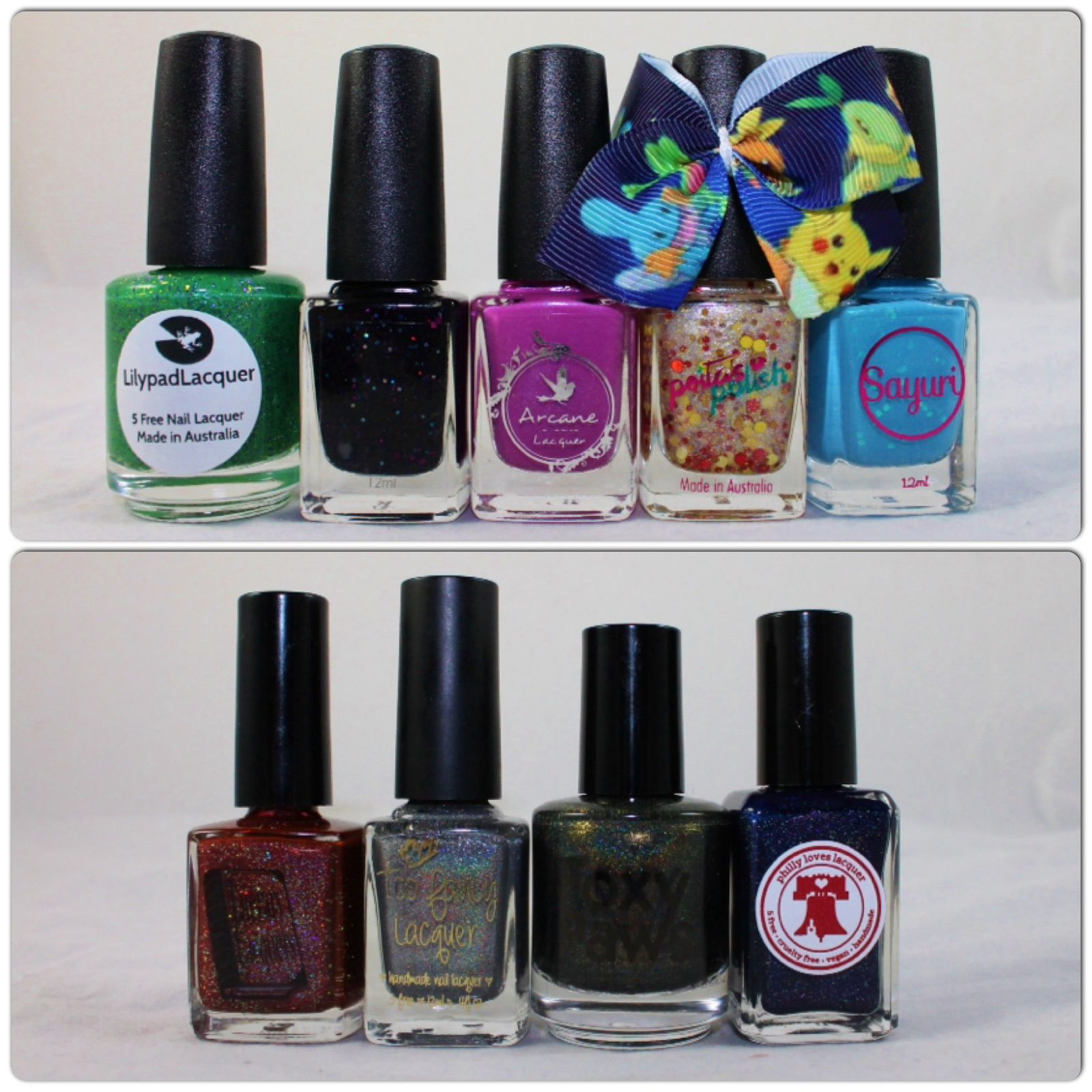 What's Indie Box November 2014, Lilypad Lacquer Tornadus, Bella Belle Nail Couture Vivillon, Arcane Lacquer Glooms Vileplume, Peita's Polish Pikachu, Sayuri #134), Dazzled Holograil October 2014 (Literary Lacquer The Blood is the Life, Too Fancy Lacquer Don't Drink The Water, Foxy Paws Gimme Soul, Philly Loves Lacquer Come Play With Us Danny)