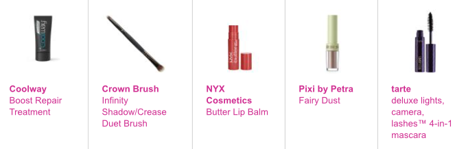 Coolway Boost Repair Treatment, Crown Brush Infinity Shadow/Crease Duet Brush, NYX Cosmetics Butter Lip Balm in Red Velvet (pure red), Pixi by Petra Fairy Dust in Brightening Bare (medium nude sheen) & tarte deluxe lights, camera, lashes™ 4-in-1 mascara