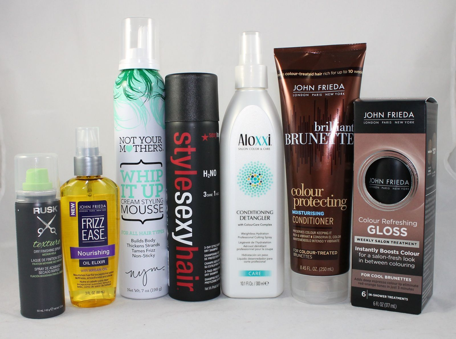 RUSK® Texture spray, JOHN FRIEDA® Frizz Ease® Nourishing Oil Elixir, NOT YOUR MOTHER'S® Whip It Up™ Cream Styling Mousse, STYLE SEXY HAIR® H2No 3 Day Style Saver Dry Shampoo, ALOXXI Conditioning Detangler, JOHN FRIEDA® Brilliant Brunette® Colour Protecting Moisturising Conditioner, JOHN FRIEDA® Colour Refreshing Gloss For Cool Brunettes