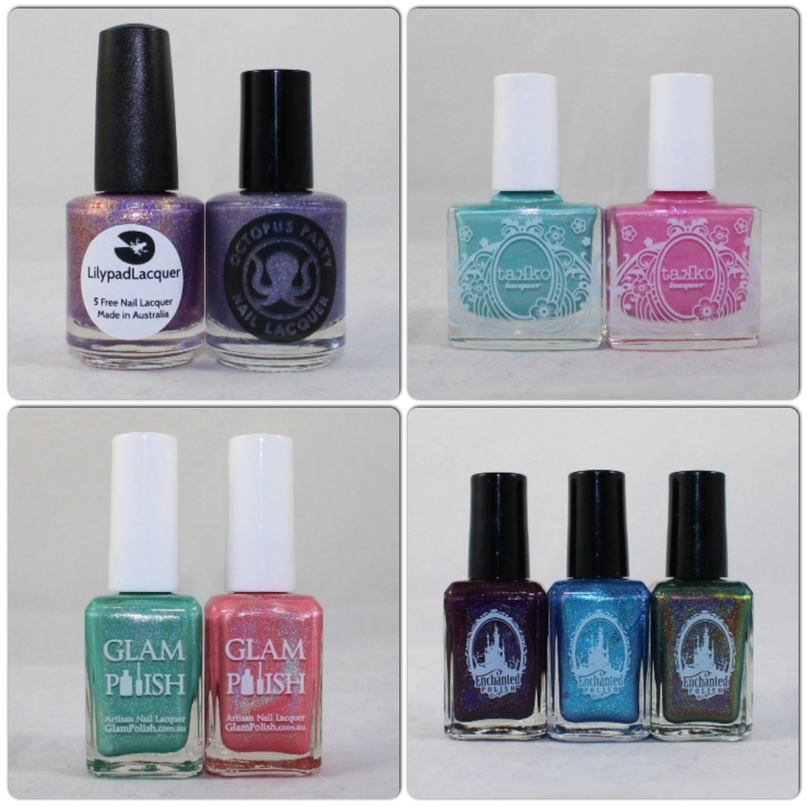 Lilypad Lacquer Scattering Sunlight & Octopus Party Nail Lacquer Crepuscular. Takko Lacquer Snow Bunny & Smitten Kitten. Glam Polish Arctic Freeze & Frost Flower. Enchanted Polish November 2014, December 2014 & Holiday 2014.