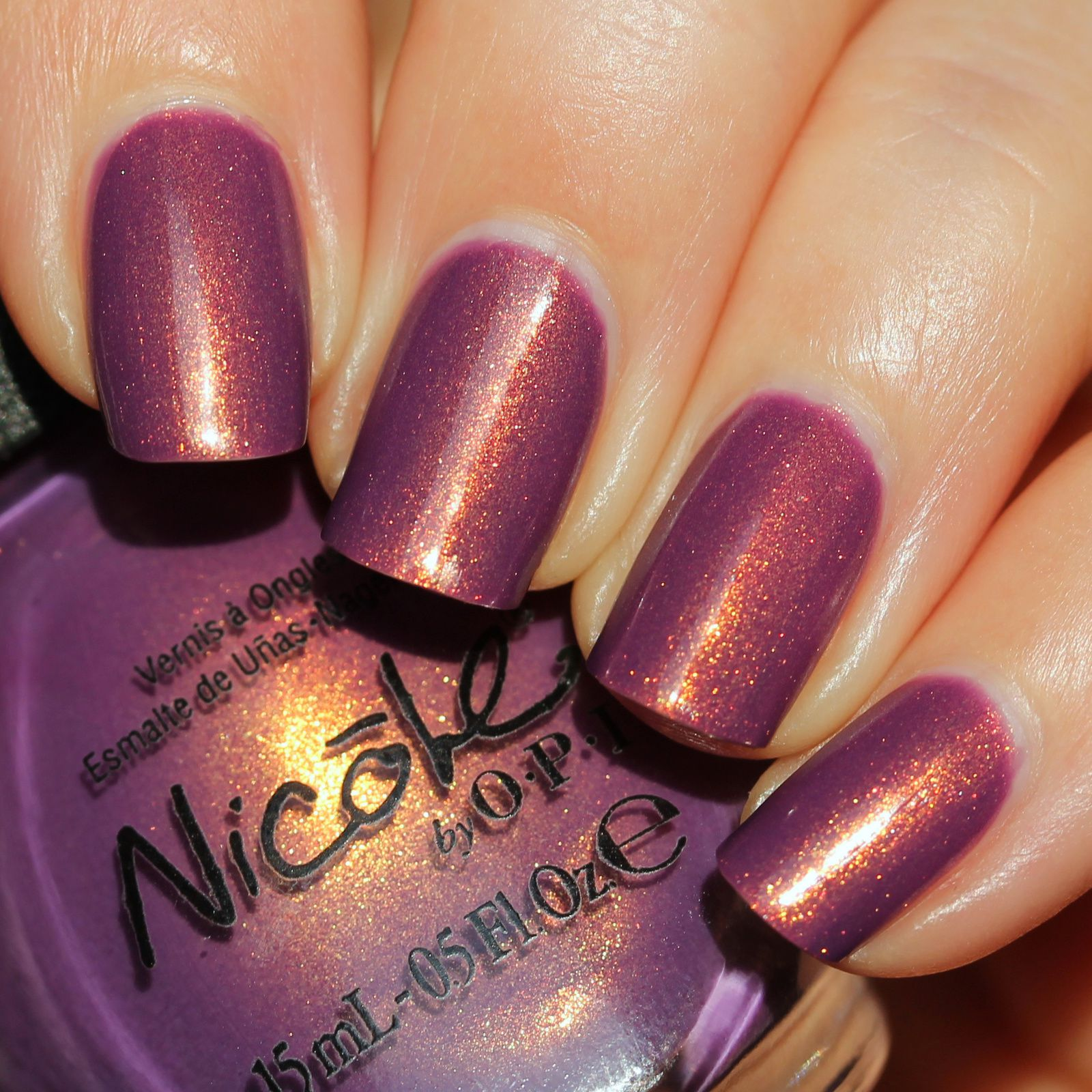 Sally Hansen Complete Care 4-in-1 Extra Moisturizing Nail Treatment / Nicole by OPI Purple Yourself Together / HK Girl Top Coat