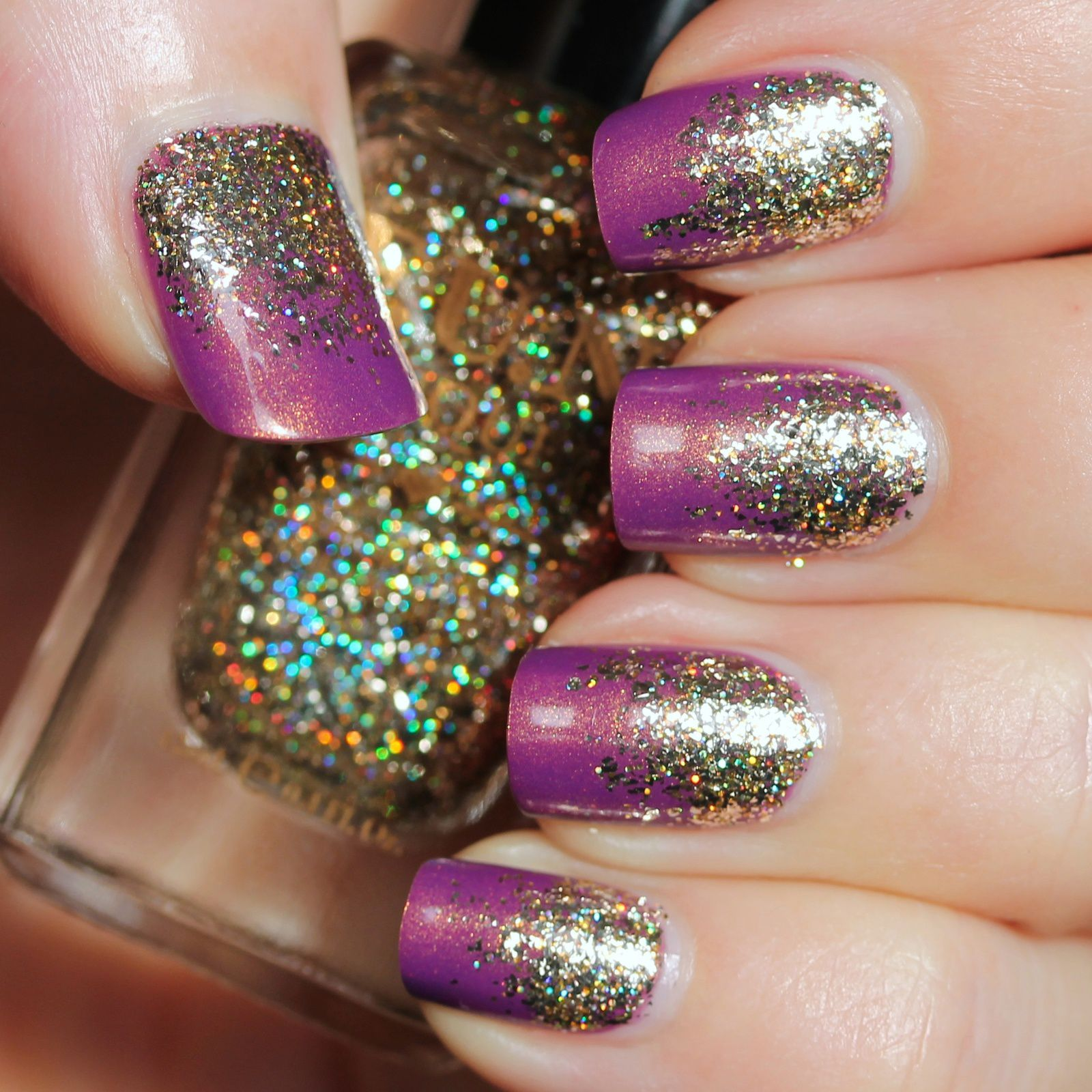 Sally Hansen Complete Care 4-in-1 Extra Moisturizing Nail Treatment / Nicole by OPI Purple Yourself Together / FUN Lacquer King / HK Girl Top Coat