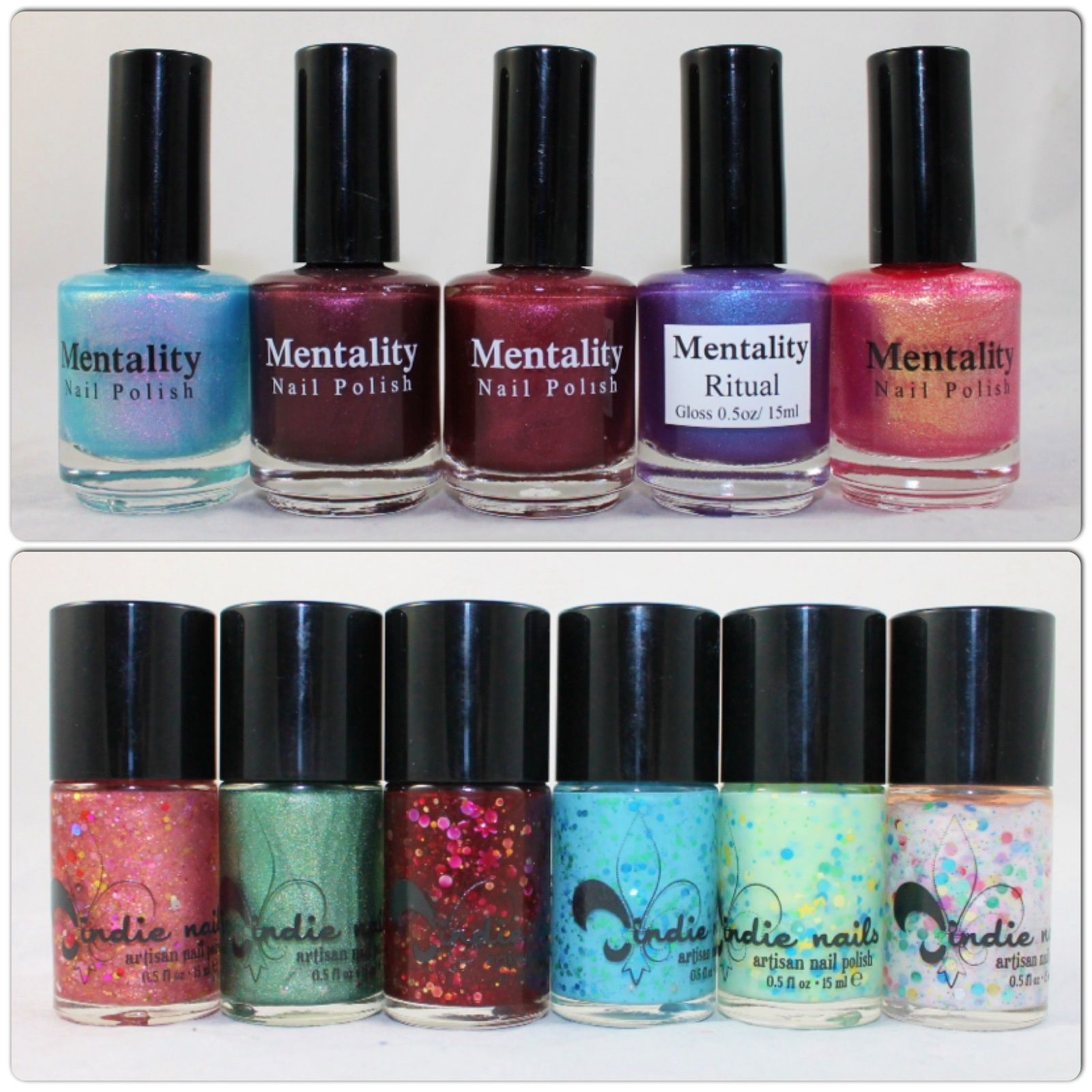 Mentality  Nail Polish Gala, Gorgeous, Allure, Ritual & Spree. Jindie Nails Baby Love My Baby Love, Today is the 1st Day of the Rest of Your Life, Red Velvet Revolver, Honey Blue Blue, Love Yourself & Paper Flowers