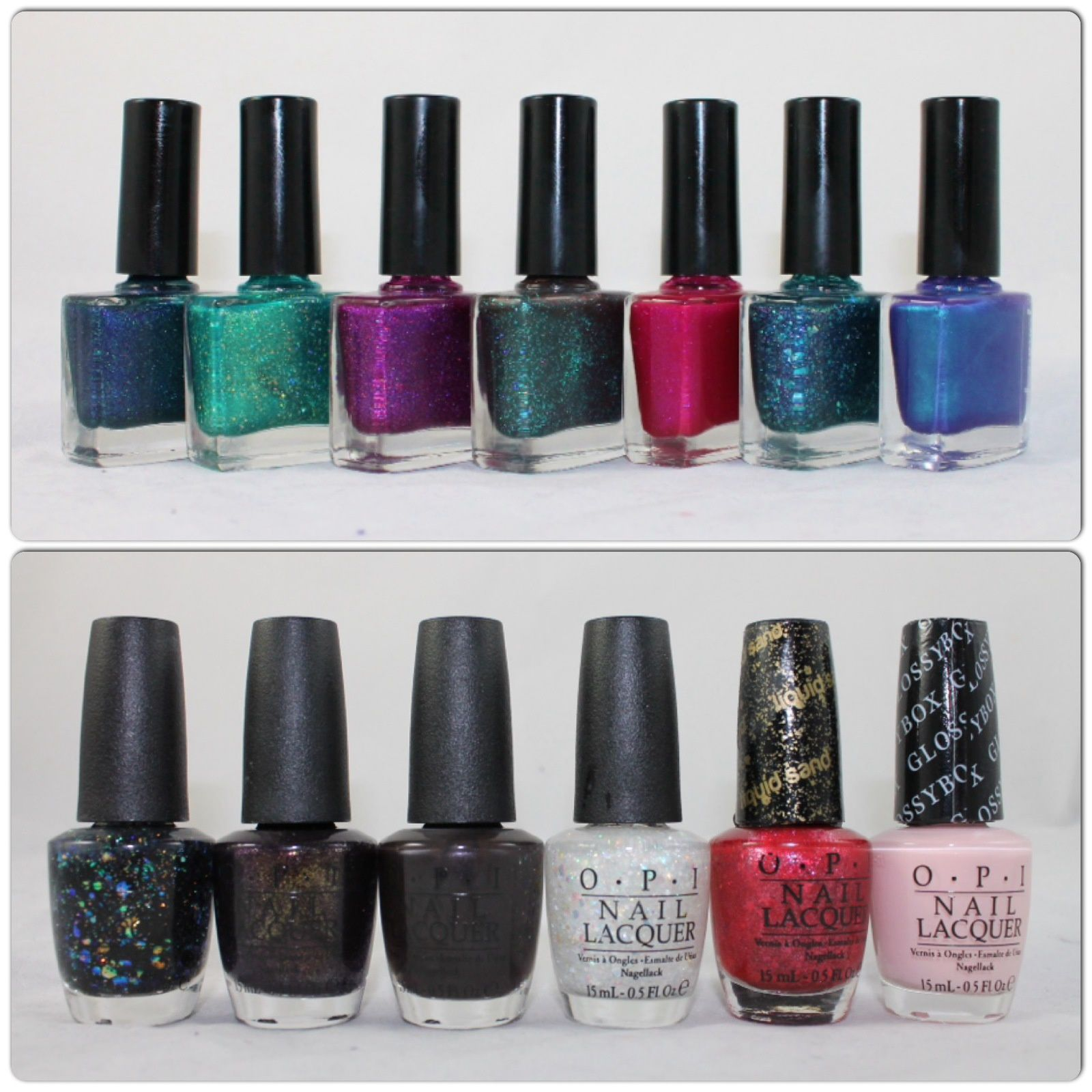 Femme Fatale Alone in the Darkness, Stand in the Clouds, Touch of Madness, In His House He Waits Dreaming, Brain Link, All sanity is Lost & Under The Waters. OPI Comet in the Sky, First Class Desires, Love is Hot and Coal, Snow Globetrotter, The Impossible & Pink Outside the Glossybox.