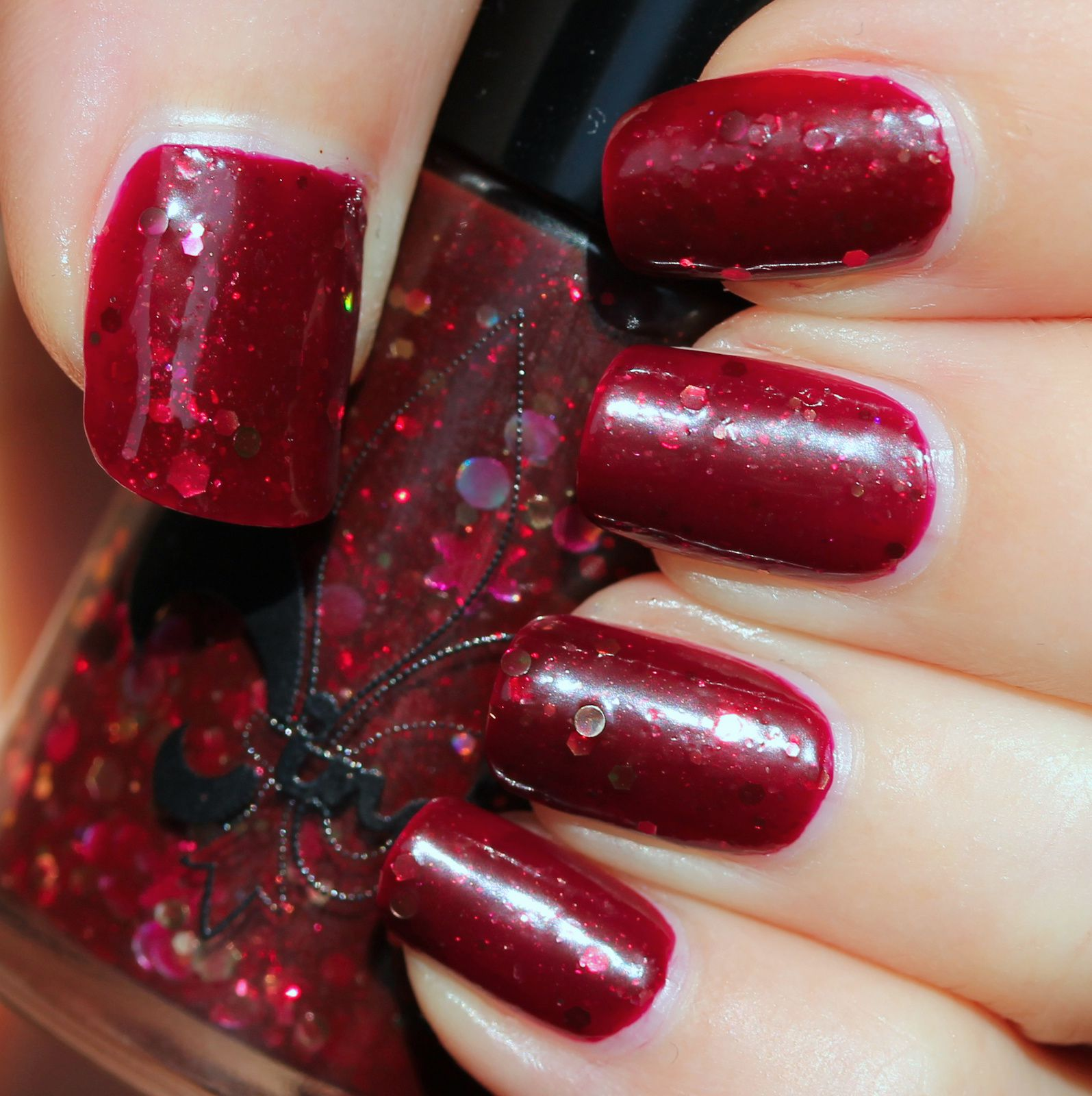 Jindie Nails Red Velvet Revolver (2 coats, no top coat)