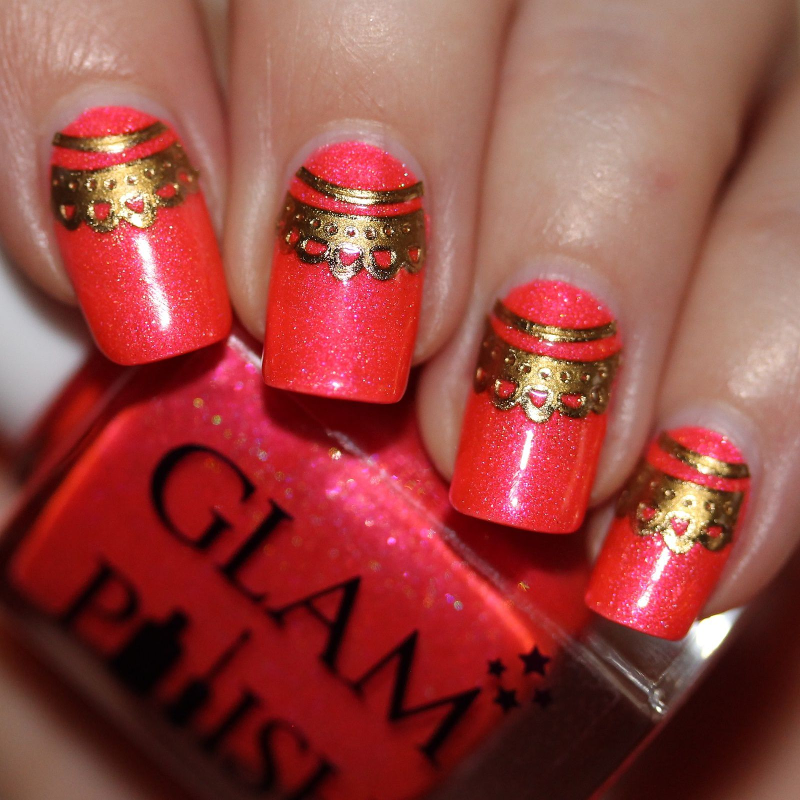 Sally Hansen Complete Care 4-in-1 Extra Moisturizing Nail Treatment / Glam Polish Hopelessly Devoted / Golden Lace Stickers / HK Girl Top Coat