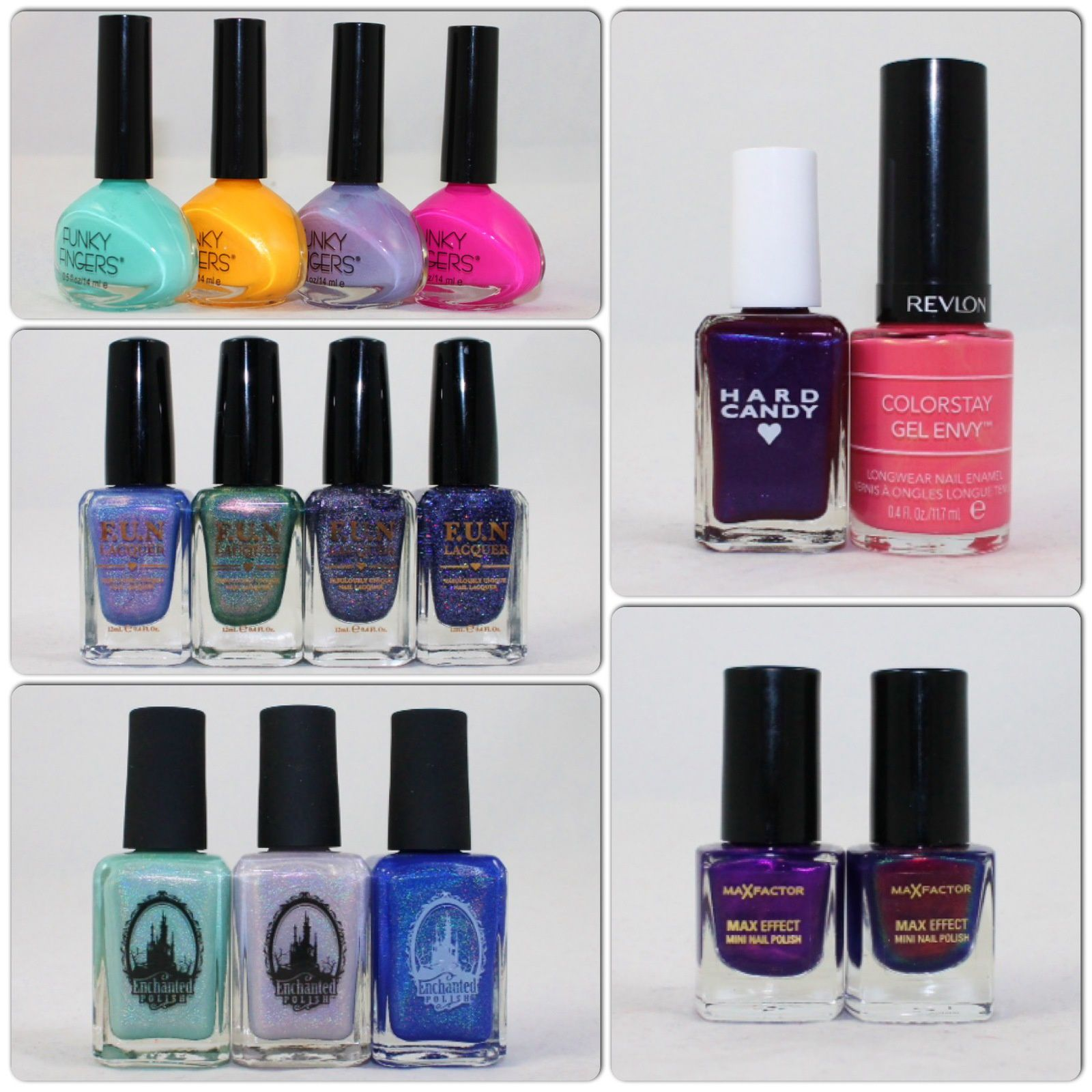 Funky Fingers Space Cadet, Hang Ten Brah, Waverunner, To Infinity (and Beyond). FUN Lacquer Anna, Ariel, Galaxy (H) & Galaxy. Enchanted Polish March, April & May 2015. Hard Candy Scam. Revlon Lady Luck. Max Factor Fantasy Fire (New and old versions)