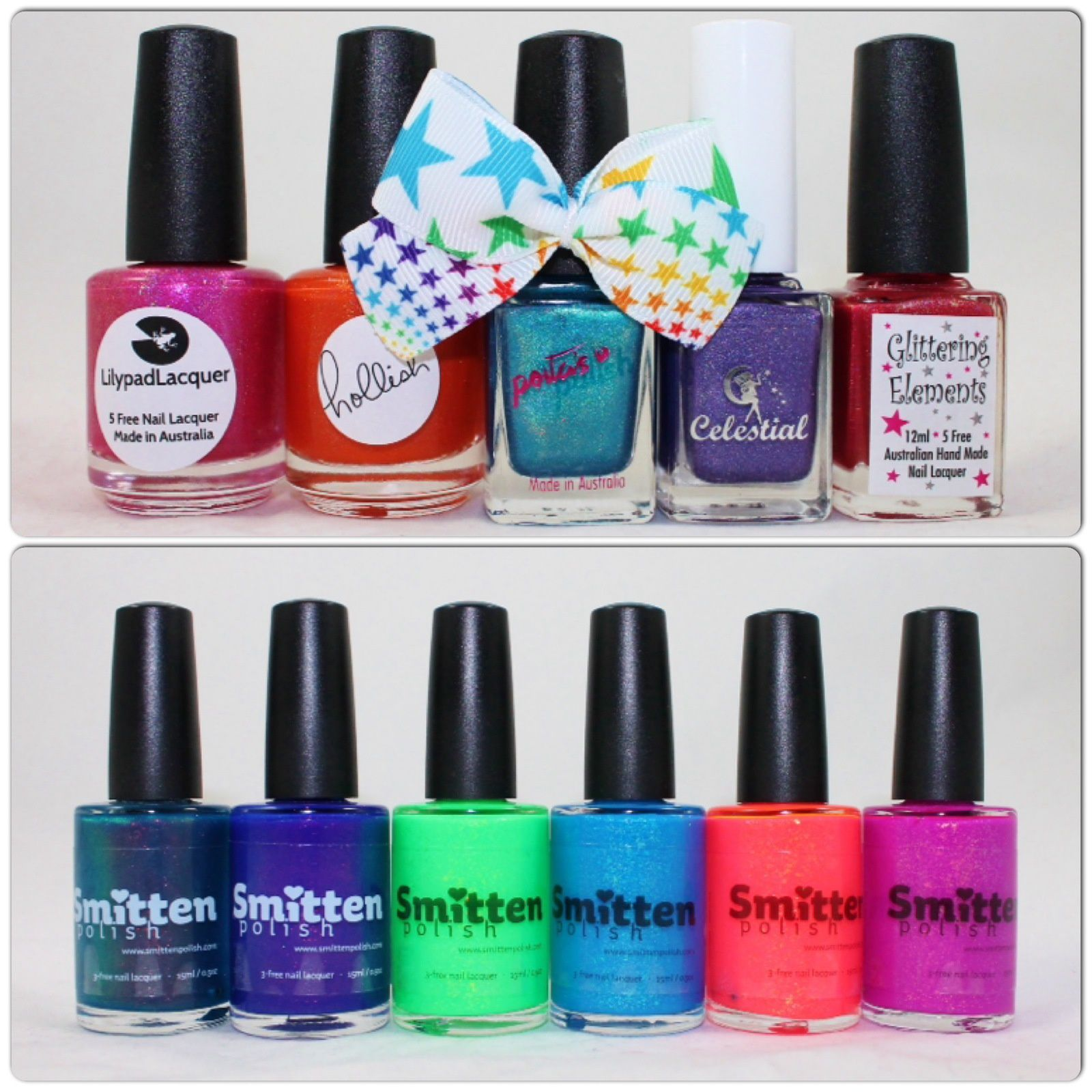 What's Indie Box May 2015. Smitten Polish A Wedding Dress that isn't Bright Turquoise, You Saucy Minx, Terra Opal, Aqua Opal, Ignis Opal, Aer Opal.
