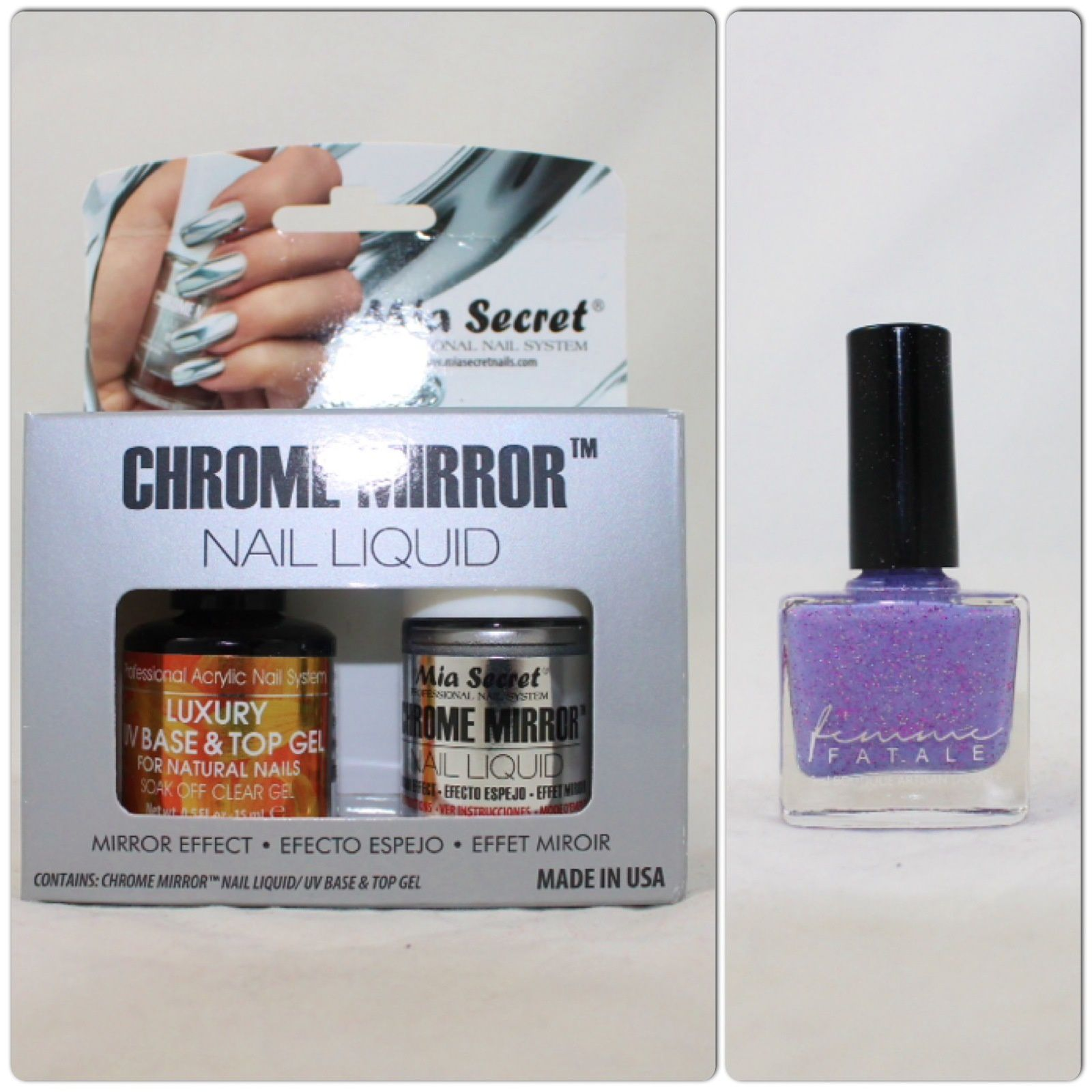 Mia Secret Chrome Mirror Nail Liquid and Femme FataleThe Purple Parlour (June'15 COTM)