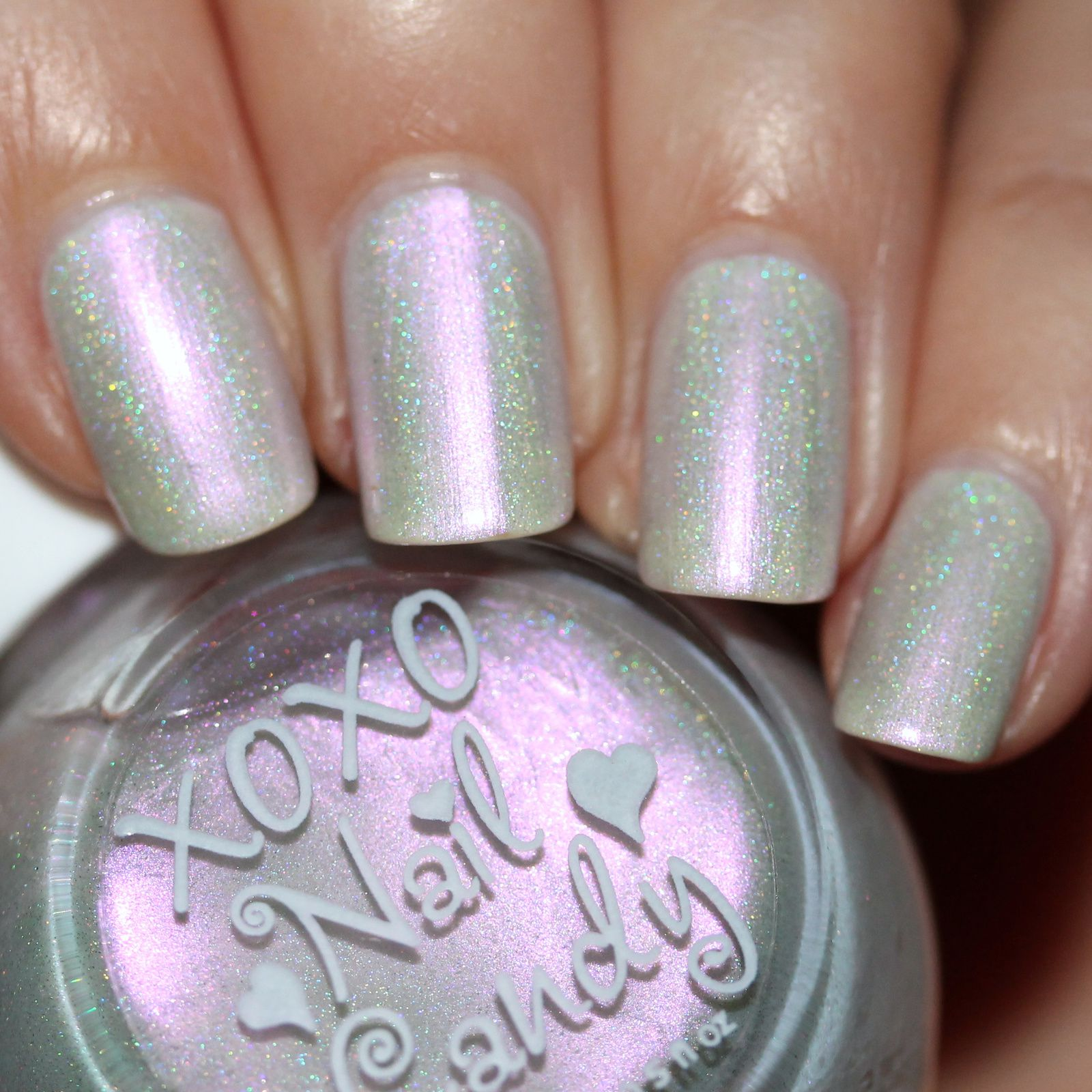 Duri Rejuvacote / Essie Marshmallow / XOXO Nail Candy Sitting on a Fluffy Cloud /  Sally Hansen Miracle Gel Top Coat