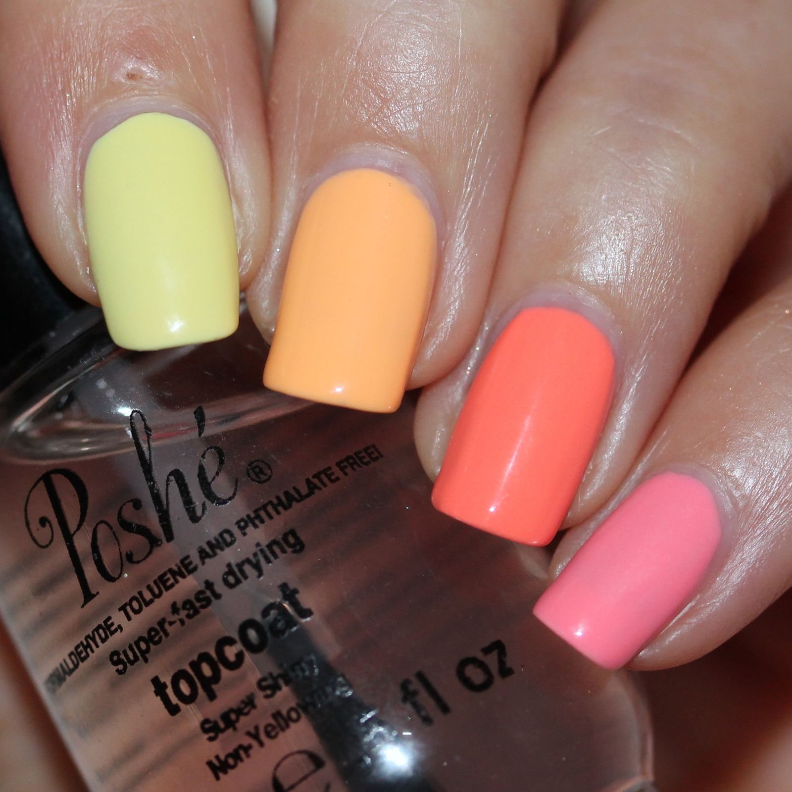 Duri Rejuvacote / Maybelline Bleached Neons Coral Heat, Pink Punch, Bleacged in Peach, Citrus Collide, Lime Accent / Poshe Top Coat