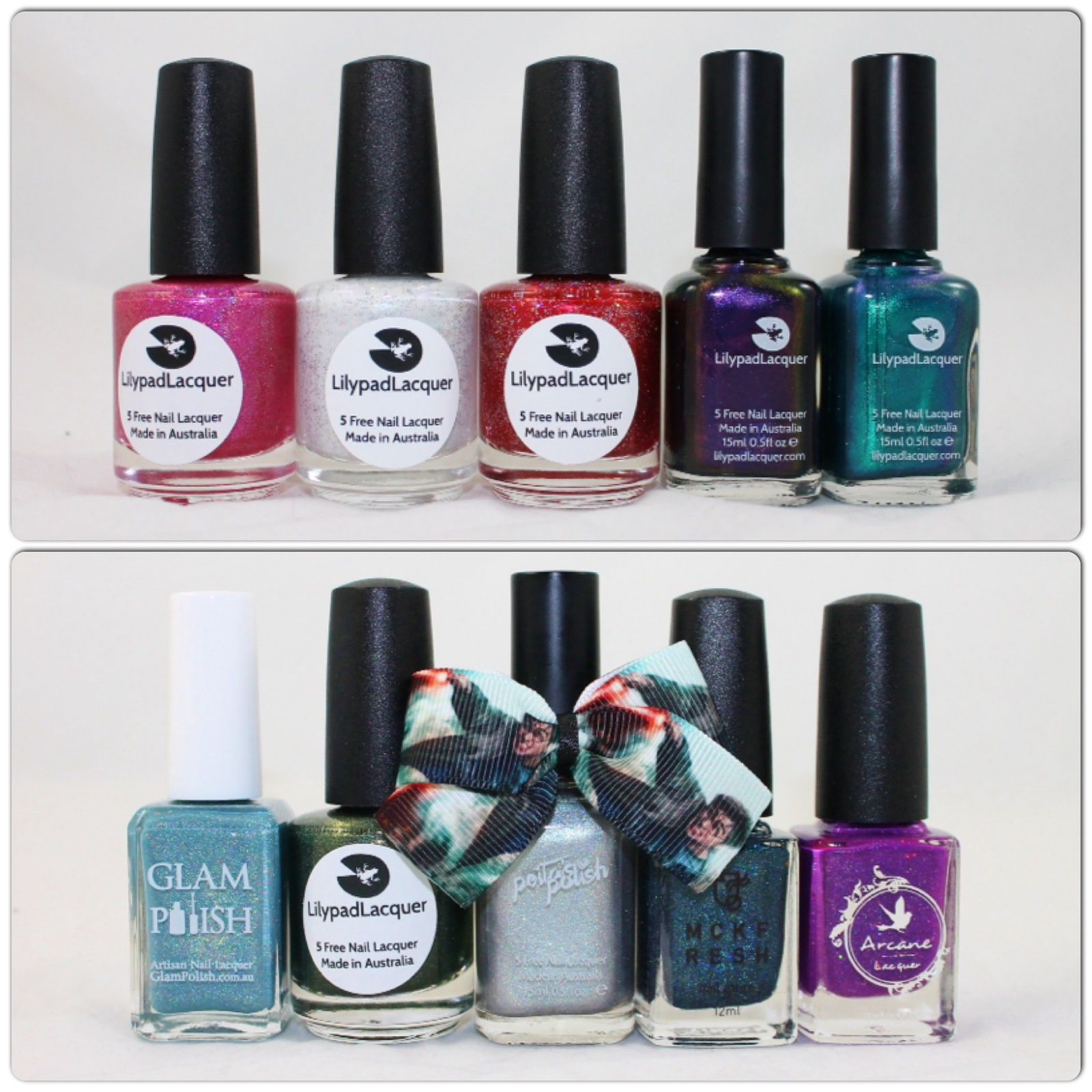 Lilypad Lacquer Pink Polish Preferred, United People, This is Home, Mysterious Ways & Aqueous. What's Indie Box - August 2015 - Harry Potter.