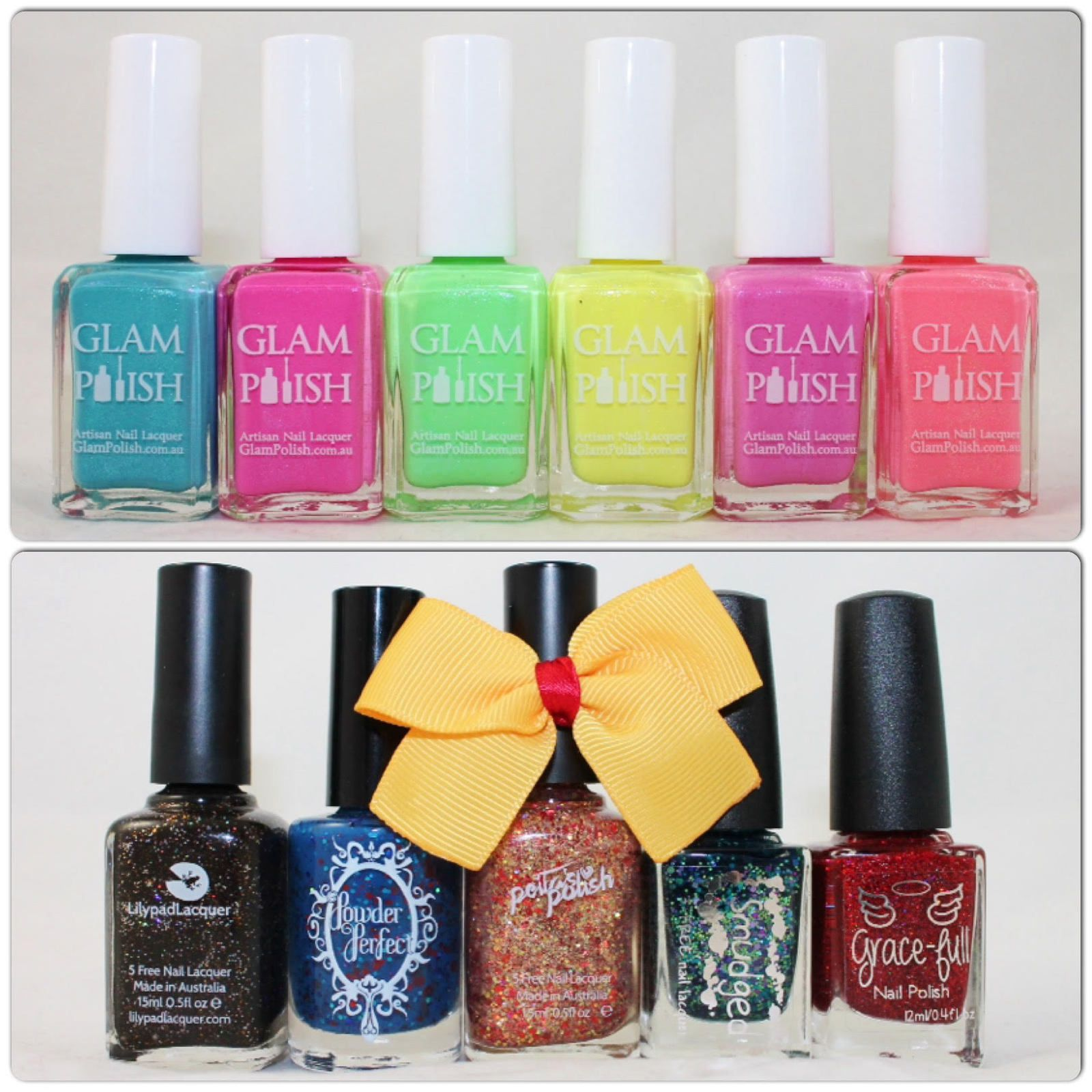 Glam Polish Sweet Duos: Blueberry Pie, Berry Parfait, Apple Mint, Lemon Meringue, Very Berry, Sweet Peach. What's Indie Box - September 2015 - Avengers