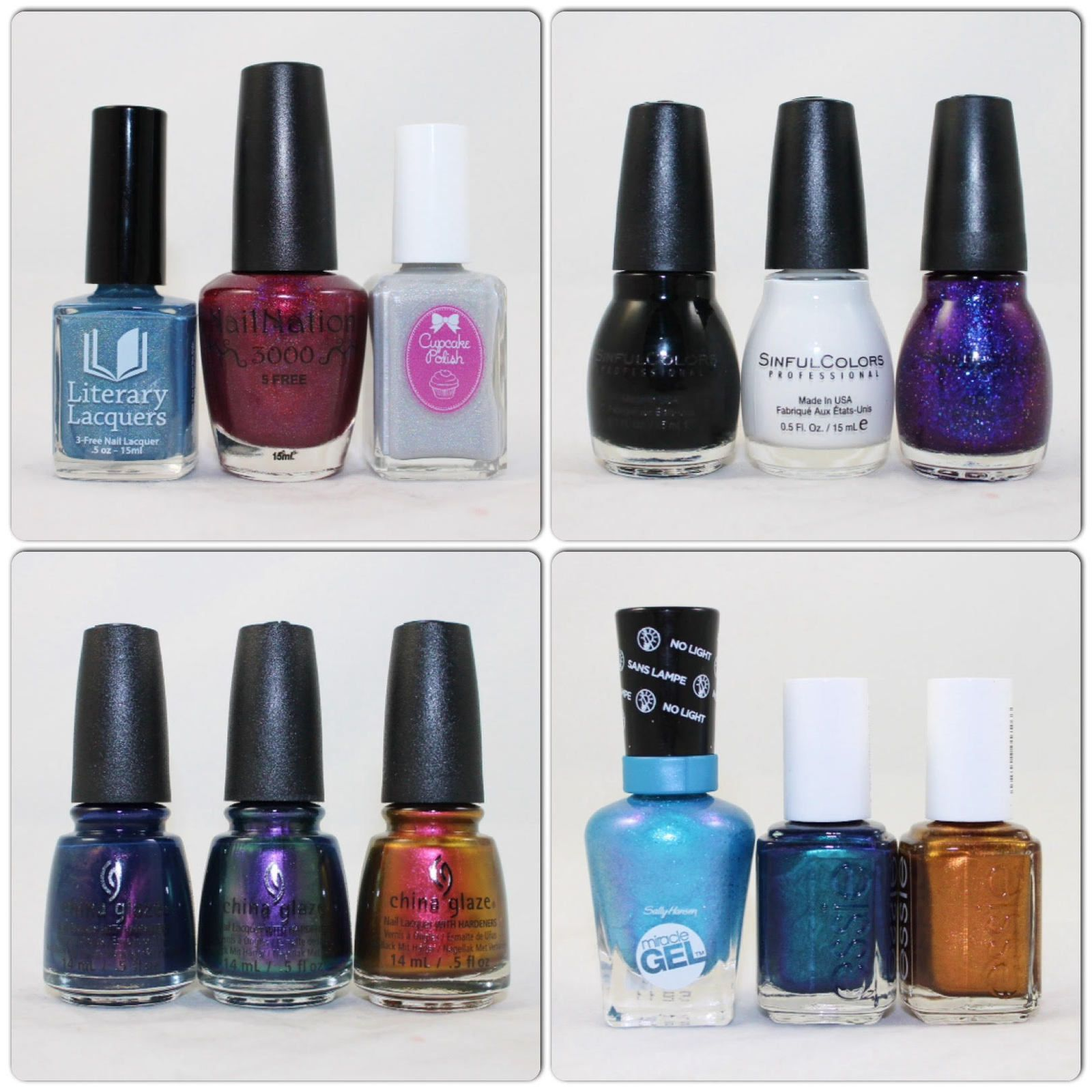 The Holo Grail Box by Dazzled - July 2015 - Favorite TV Shows. Sinful Colors Black on Black, Snow Me White, Interstellar. China Glaze Pondering, Sleeping Under the Stars, Cabin Fever. Sally Hansen Flash-ionista. Essie Bell-Bottom Blues & Leggy Legend.