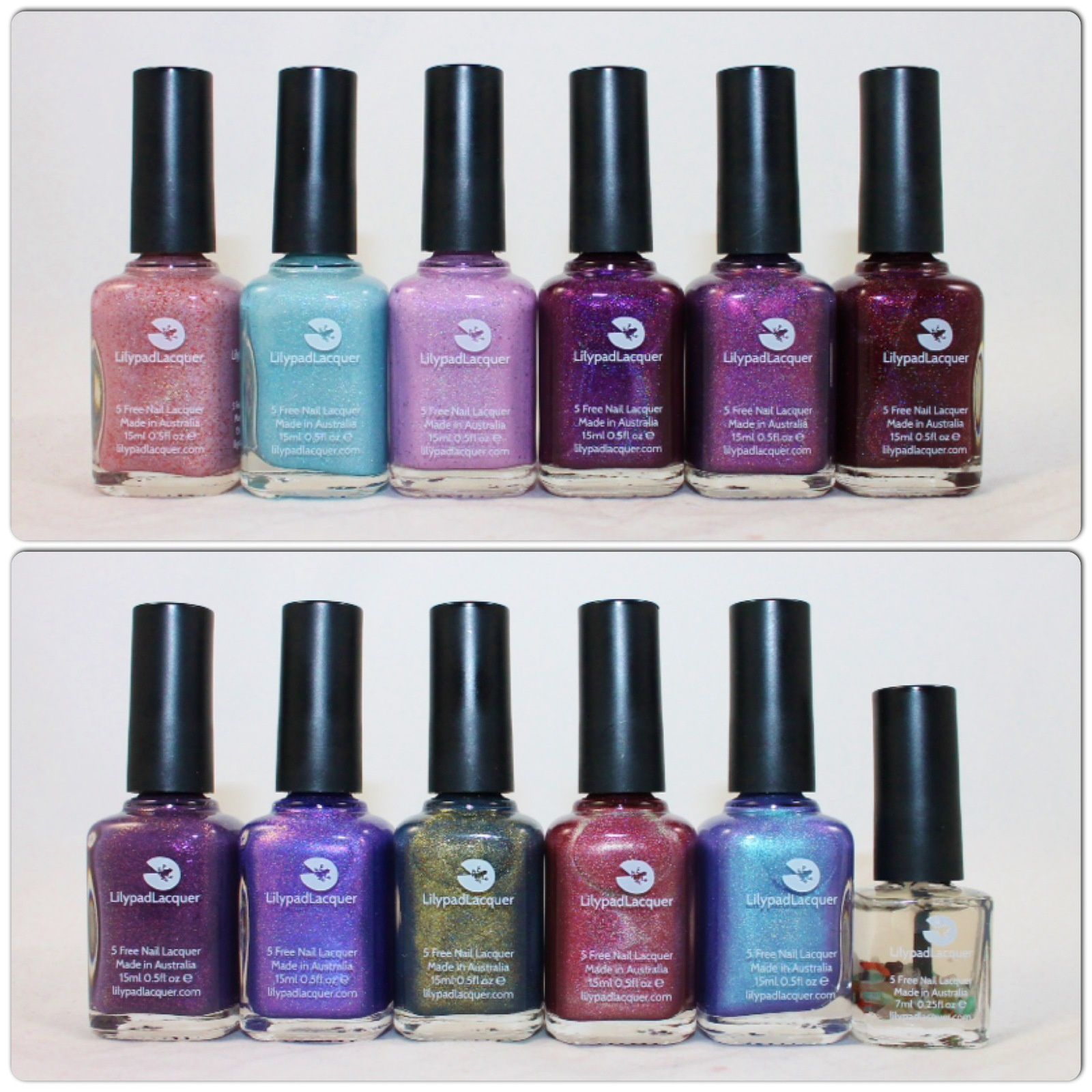 Lilypad Lacquer Pure, Fresh, Clean, Victorious, Queen, Fatale, Mulberry, Utopia, Antique, Ladyface, Sereniy & Crystal Clear.