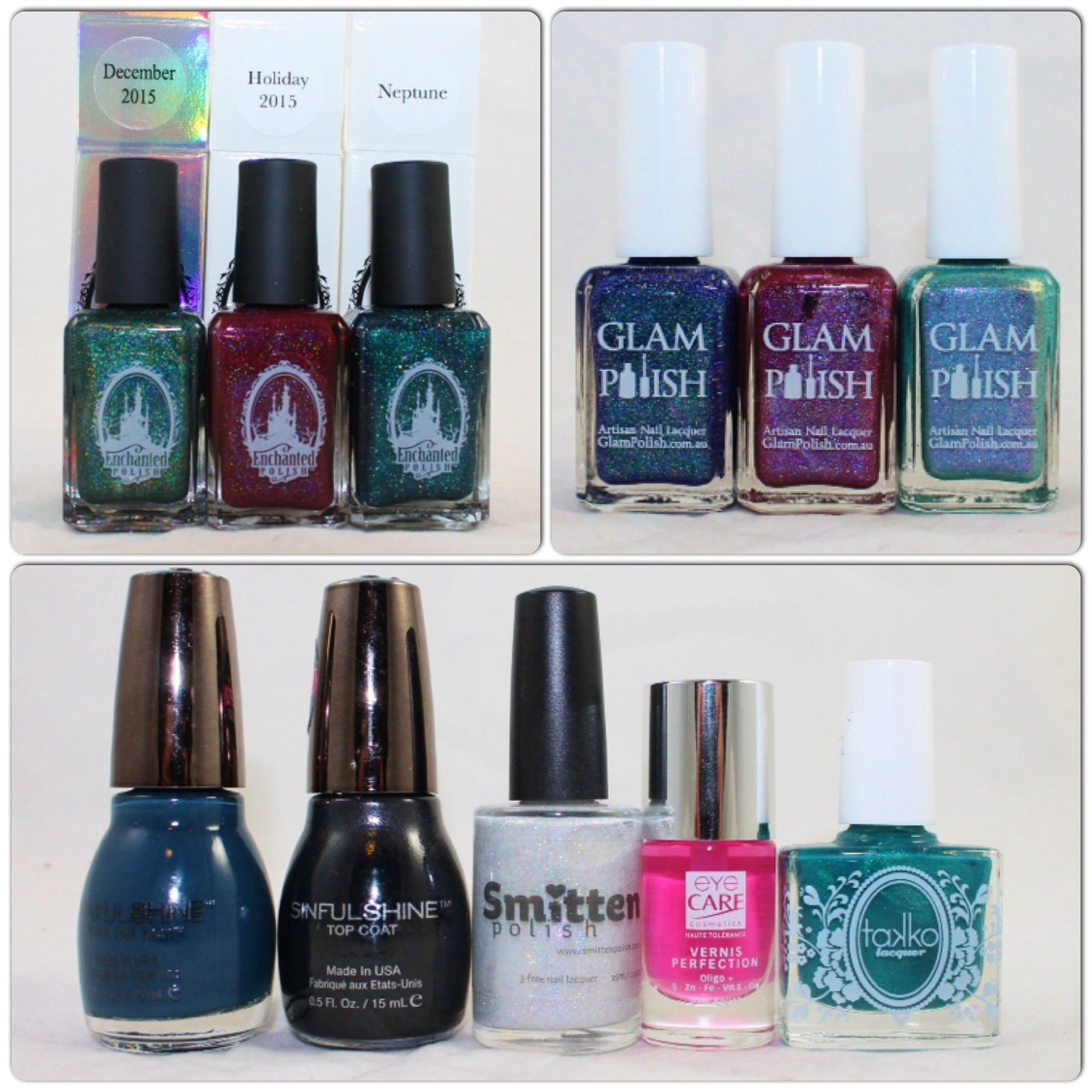 Enchanted Polish December 2015, Holiday 2015 & Neptune. Glam Polish Cosmic Shower, Frankly Scarlett I Don't Give a Glam & Chaos. Sinful Colors Set the Mood and SinfulShine TopCoat. Smitten Polish Shoe Polish. Eye Care Cosmetics FluoNight Polish. Takko Lacquer La Sirena.