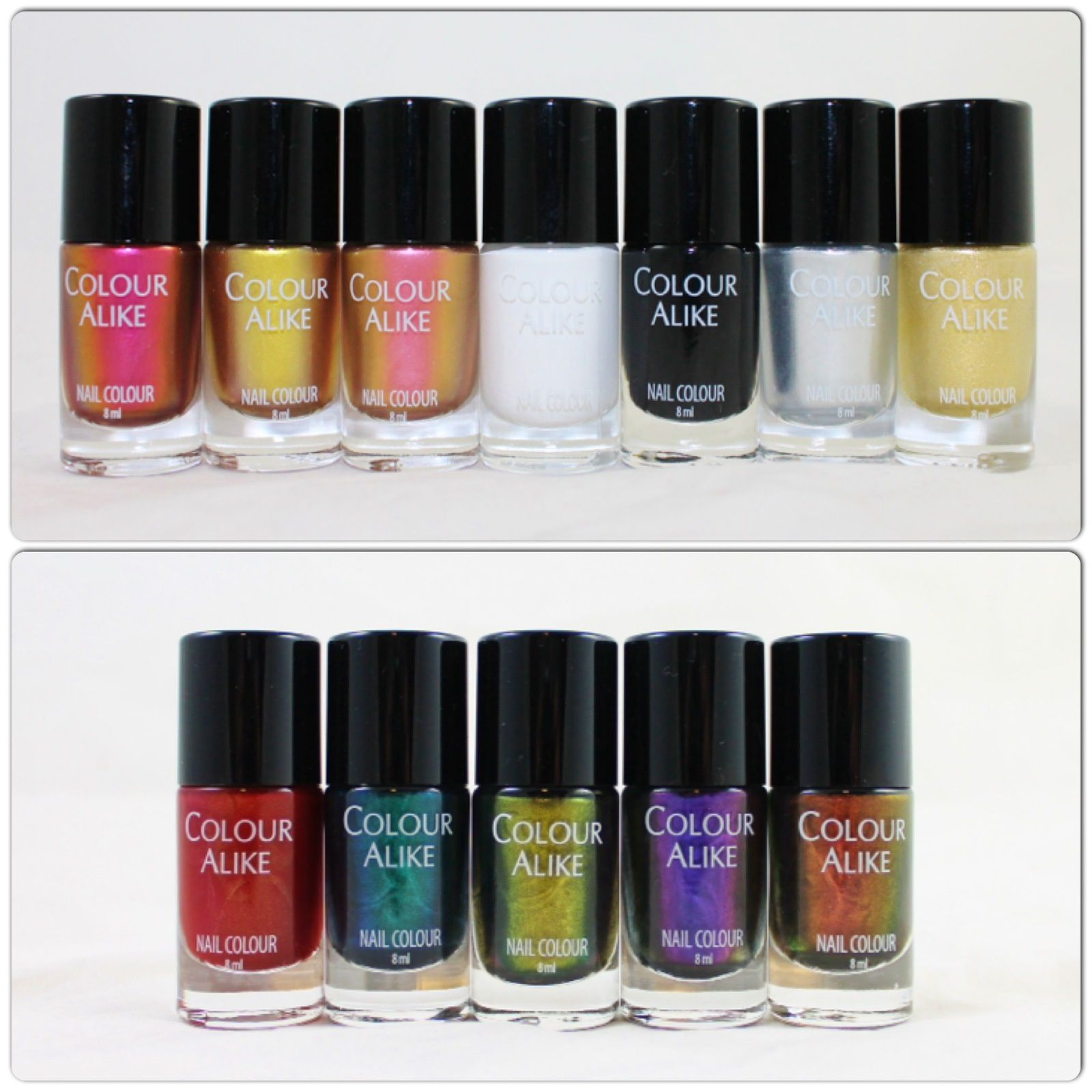 Colour Alike Stamping Polish Venus, Supernova, Mars, Kind of White, Kind of Black, Silver King, Golden Queen. Colour Alike 499, 544, 543, 541 & 542.
