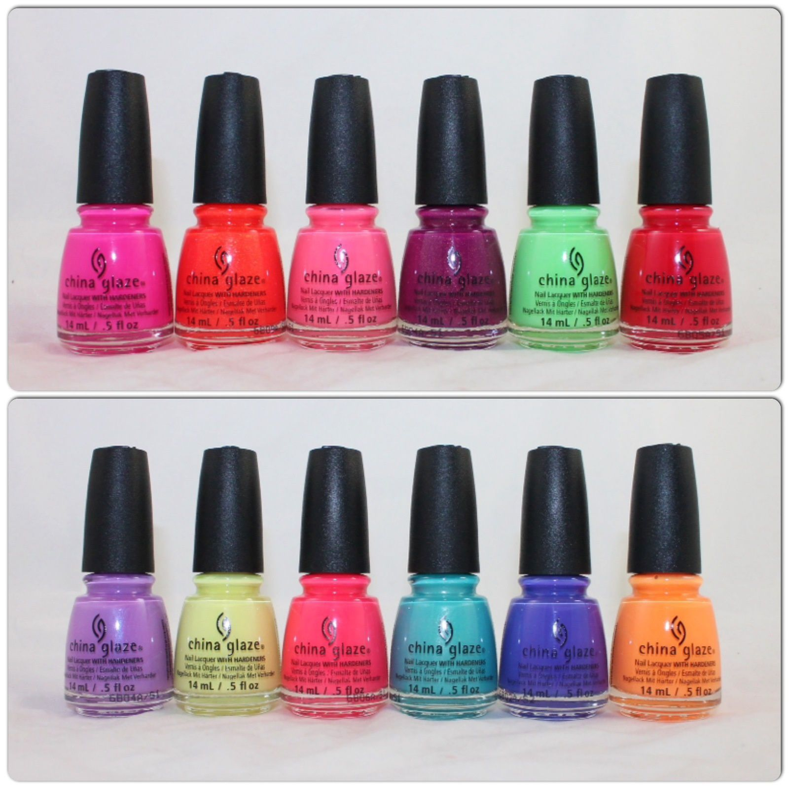 China Glaze Summer 2016 Lite Brites: I'll Pink to That, Papa Don't Peach, Lip Smackin' Good, We Got the Beet, Lime fater Lime, Hot Flash, Let's Jam, Whip it Good, Bite Me, What I Like About Blue, I Got a Blue Attitude, None of Your Risky Business