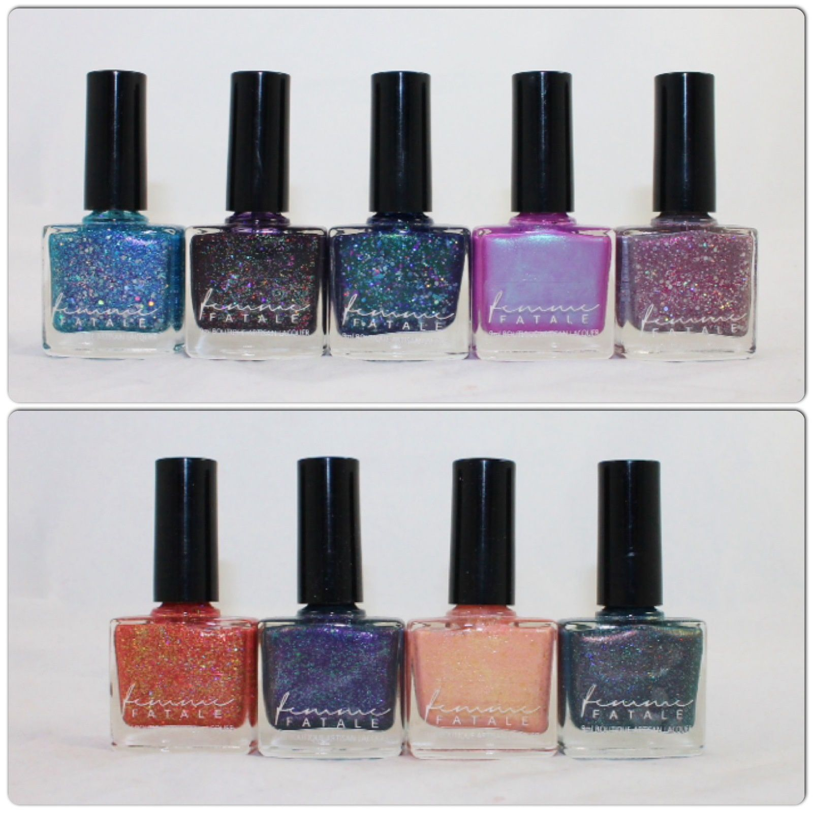 Femme Fatale Cosmetics: Glass Carnival, Sideshow Sparkler, Glacier Nether, Dreamscape, Solar Storm, Sunset Dreams of Ice Cream, Dust of Nibiru, Sunspring, Stargazing on Saturn.