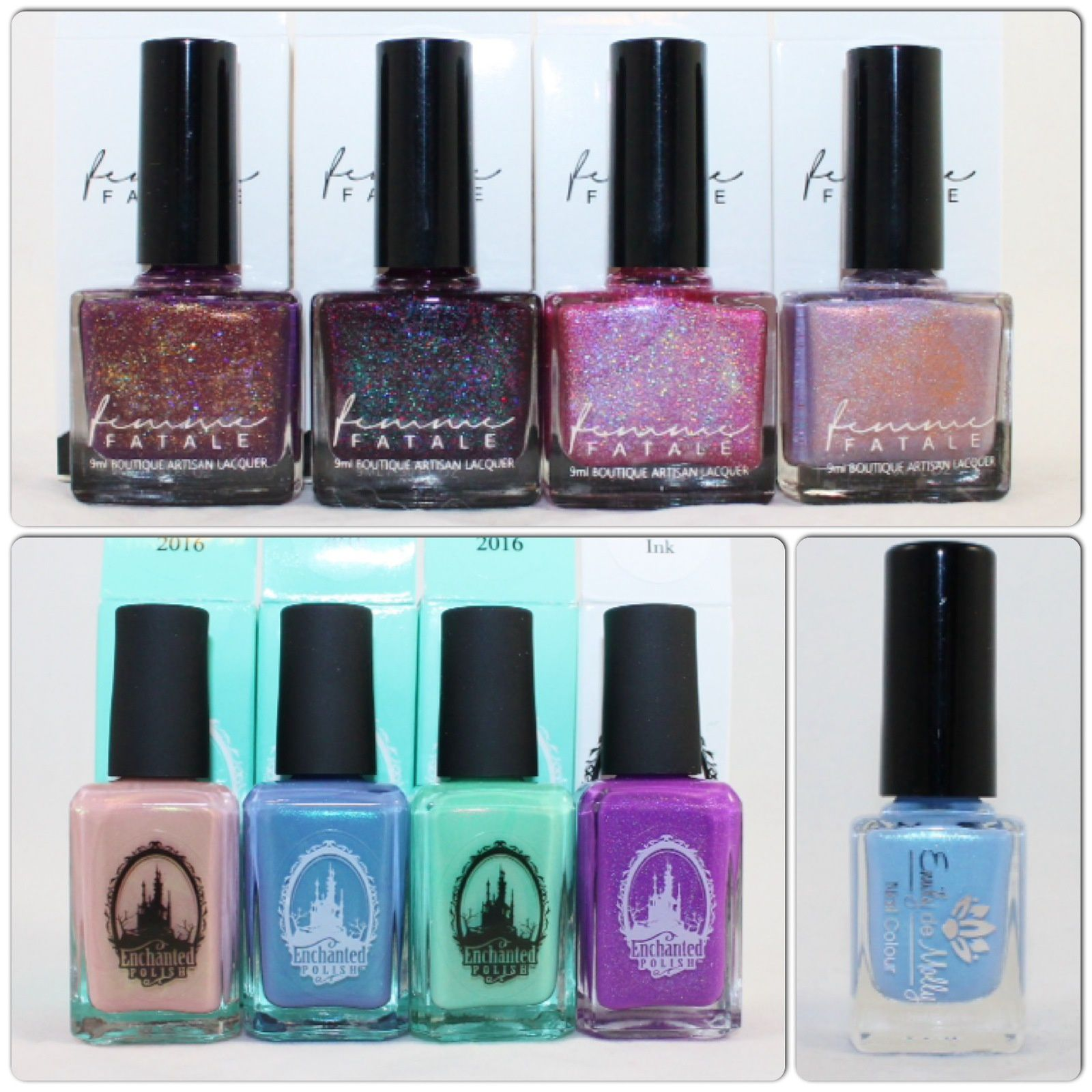 Femme Fatale Cosmetics Prim & Copper, Wine & Dandy, Paramour & Ambrosial. Enchanted Polish, Januaty, February, March 2016 & Monster Ink. Emily de Molly Summer Skies.