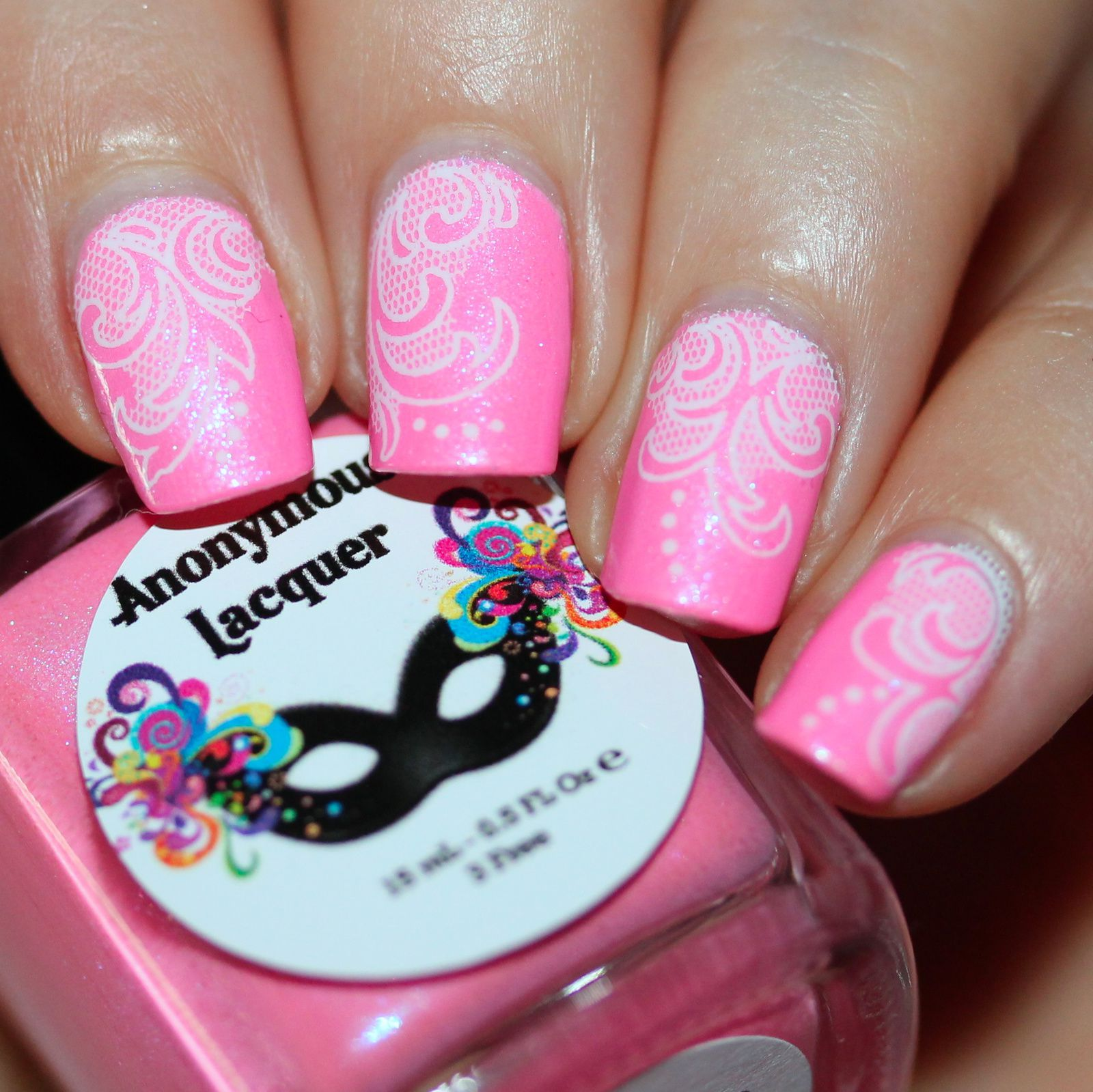 Essie Protein Base Coat / Anonymous Lacquer Pink-nik in the Park / Adnails white lace decals / HK Girl Top Coat