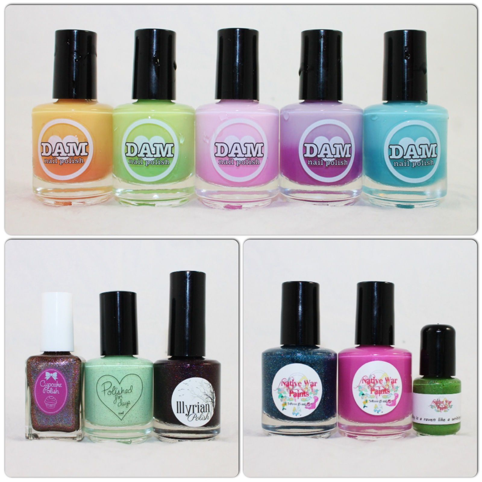 Dam Polish Citrus Sherbert, This Magic Mo-Mint, Pinky Promise, Iris of the Beholder, Teal Next Time. For the Love of Polish May 2016. Native War Paint Box May 2016.
