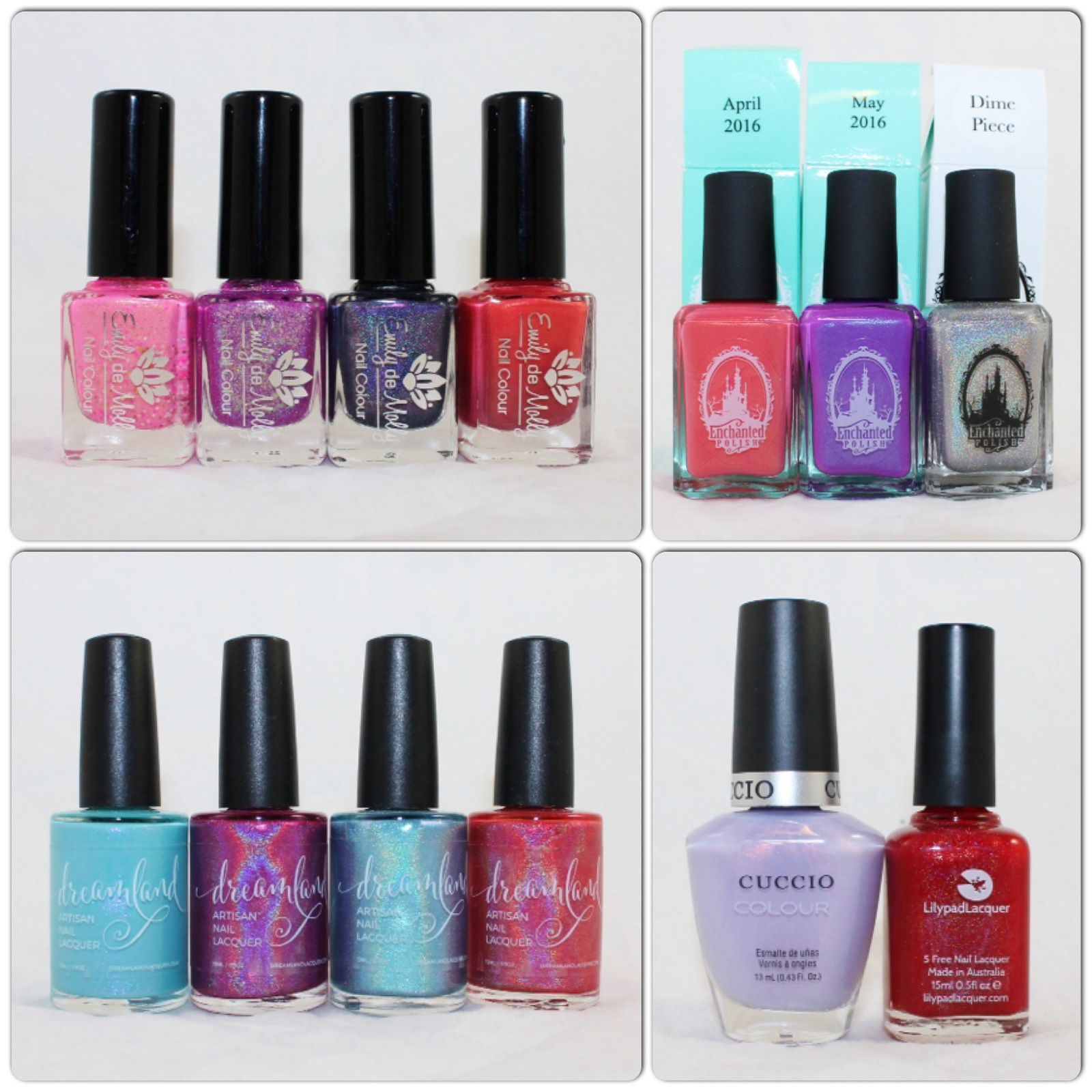 Emily de Molly Smiling Fortune, Showdown, Spell Check, LE 32. Enchanted Polish April 2016, May 2016, Dime Piece. Dreamland Lacquer Naiad Reborn, Dragonberry, Aurora Four-ealis, Coral of the Story. Cuccio Message in a Bottle. Lilypad Lacquer Taury.