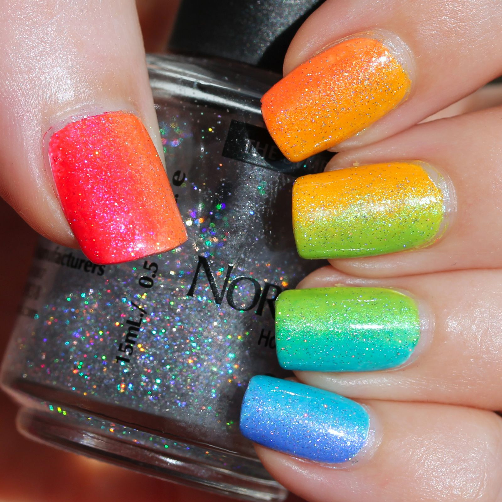 Duri Rejuvacote / Finger Paints Base Coat for Neons / Shleee Polish Matangi, Tiger Lily, Without You I'm Nothing, Ecto Cooler, Ahh Bikini Bottom & Enchanted Cupcake gradient / HK Girl Top Coat