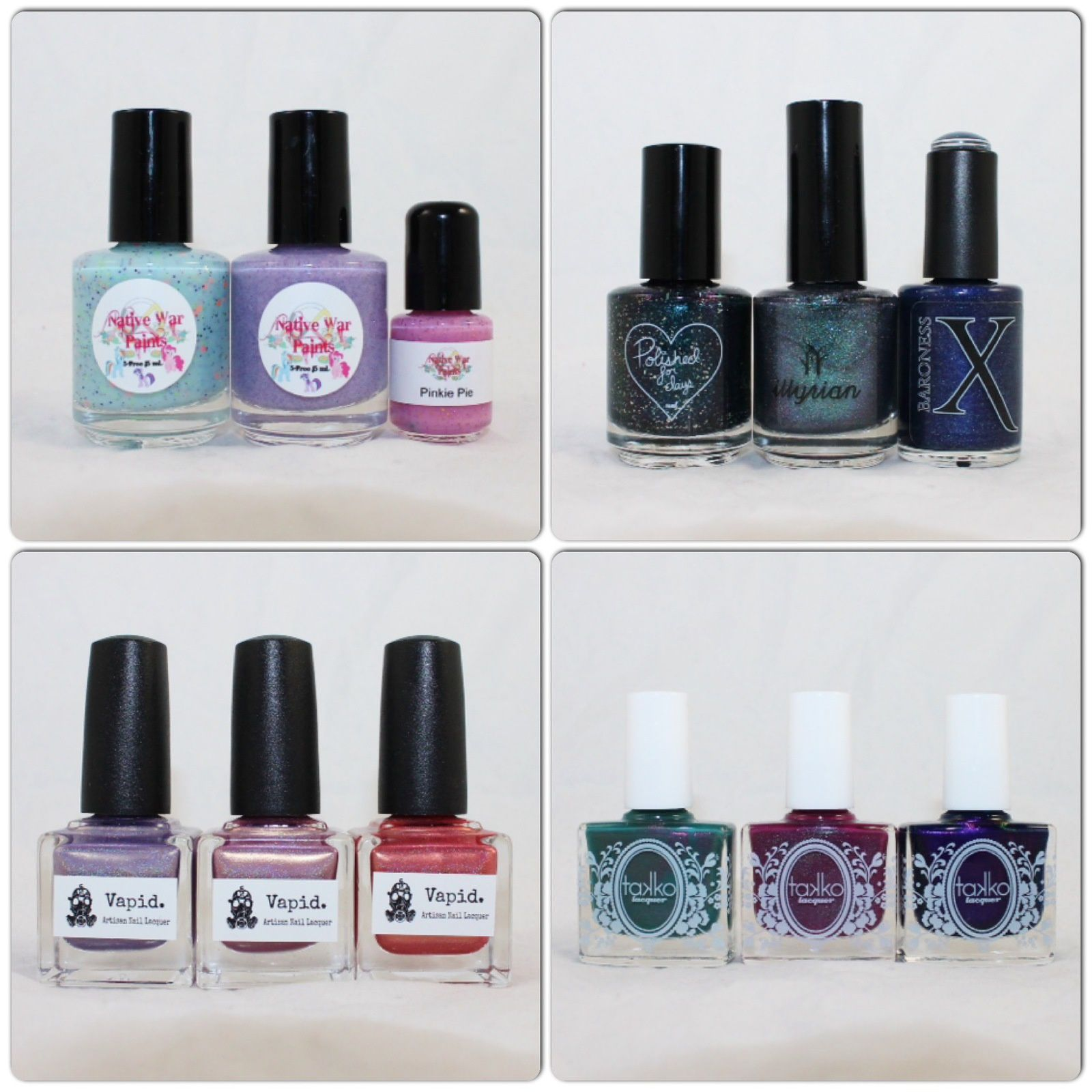 NWP Monthly Box June 2016, For the Love of Polish June 2016. Vapid Lacquer Unicorn Blood, Once Upon a Time, Dragon Tears. Takko Lacquer Cactus Rose, Grape Juice, Druzy Quartz.