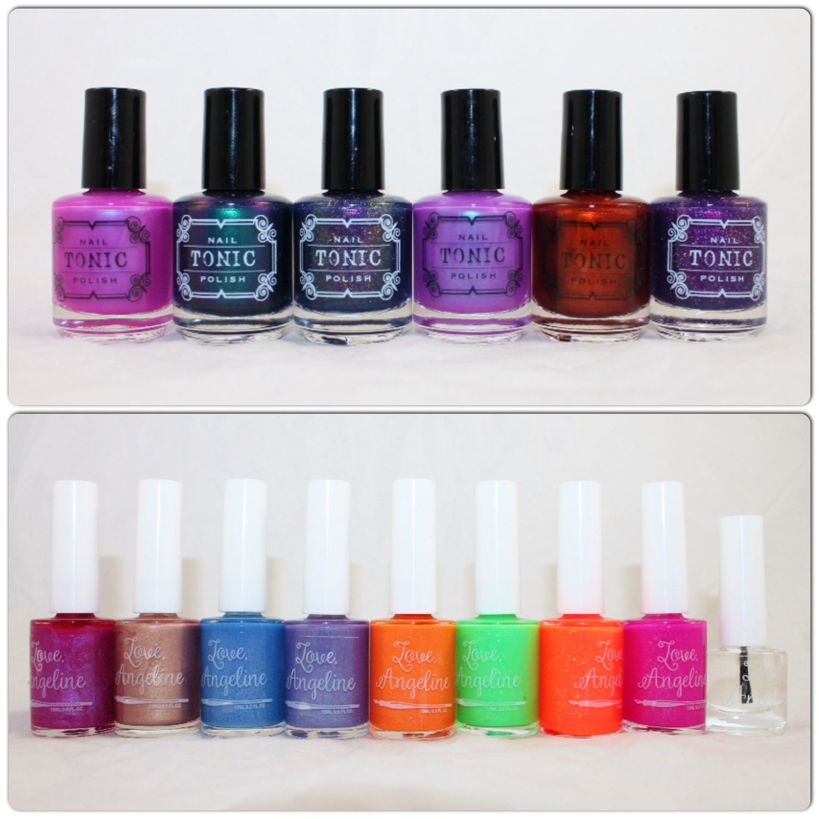 Tonic Polish Alexandria's Genesis, Dragon at Dusk, Enchanted Elixir, Light of Lyra, Lava Lust, Huckleberry Sparkle. Love Angeline Take Me Away, Cheeky Tiki, Calm Waters, Ocean Breeze, Cape Coral 2.0, Apple Blossom, Mac N Tosh, Spike's Crush, Topped With Love.