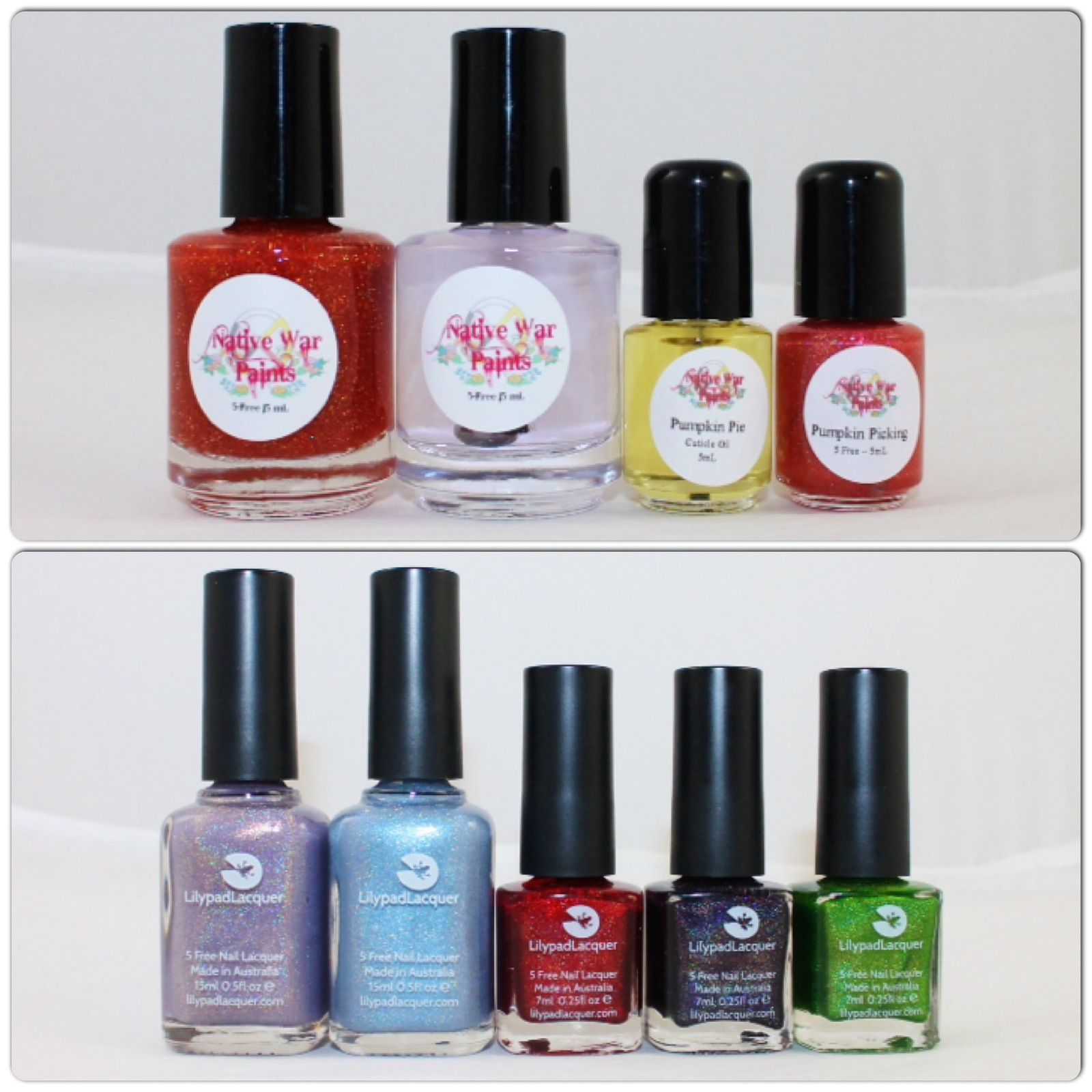 NWP Monthly Box - September 2016. Lilypad lacquer Glorious Day, Angels Sing, When Love Comes to Town, Atomic Apple & Nightshade.