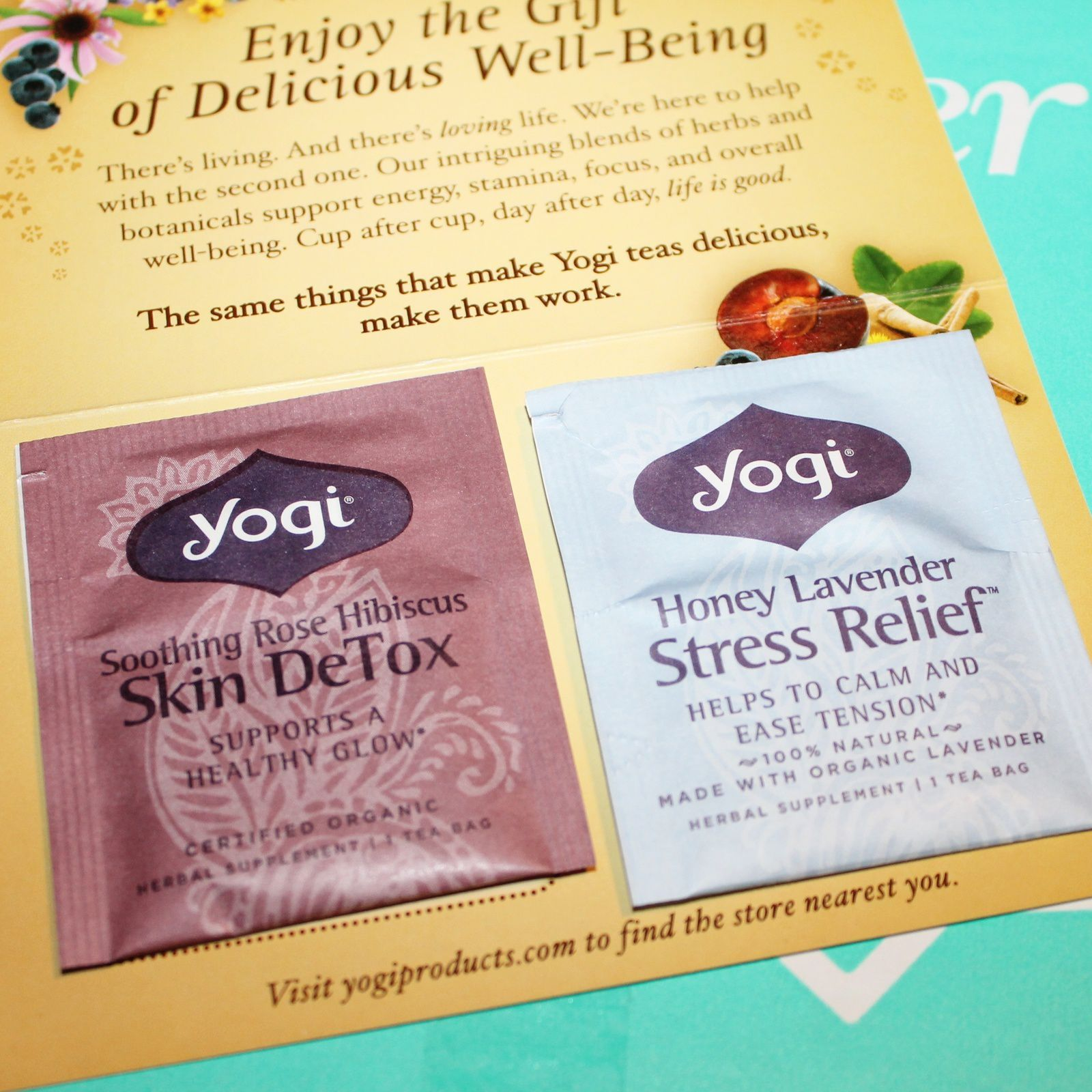 Yogi Tea Soothing Rose Hibiscus Skin DeTox& Honey Lavender Stress Relief