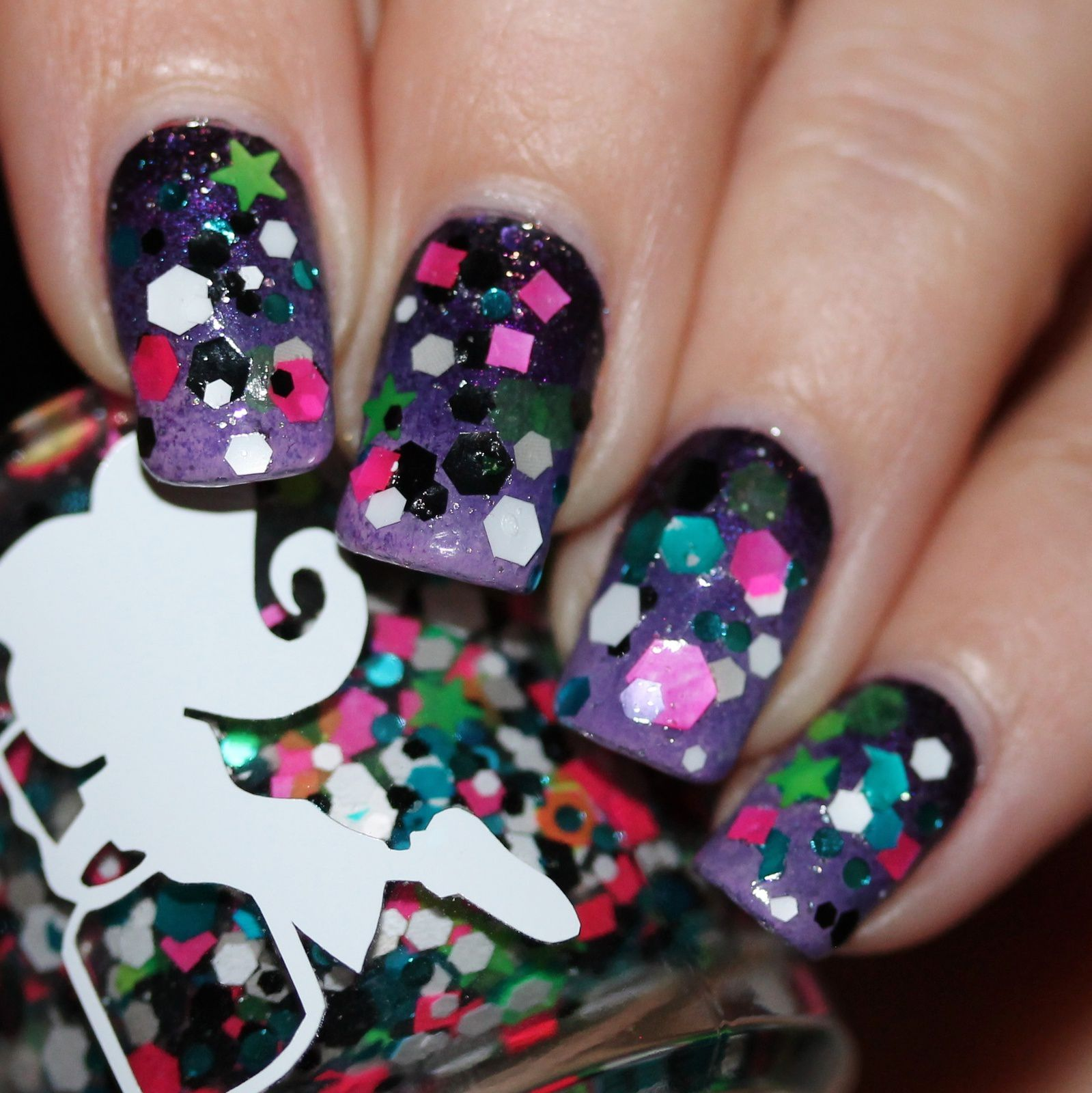 Duri Rejuvacote / Purple Gradient / A Girl Obsessed Frankie Stein / Nail Pattern Boldness Glitter Food / HK Girl Top Coat
