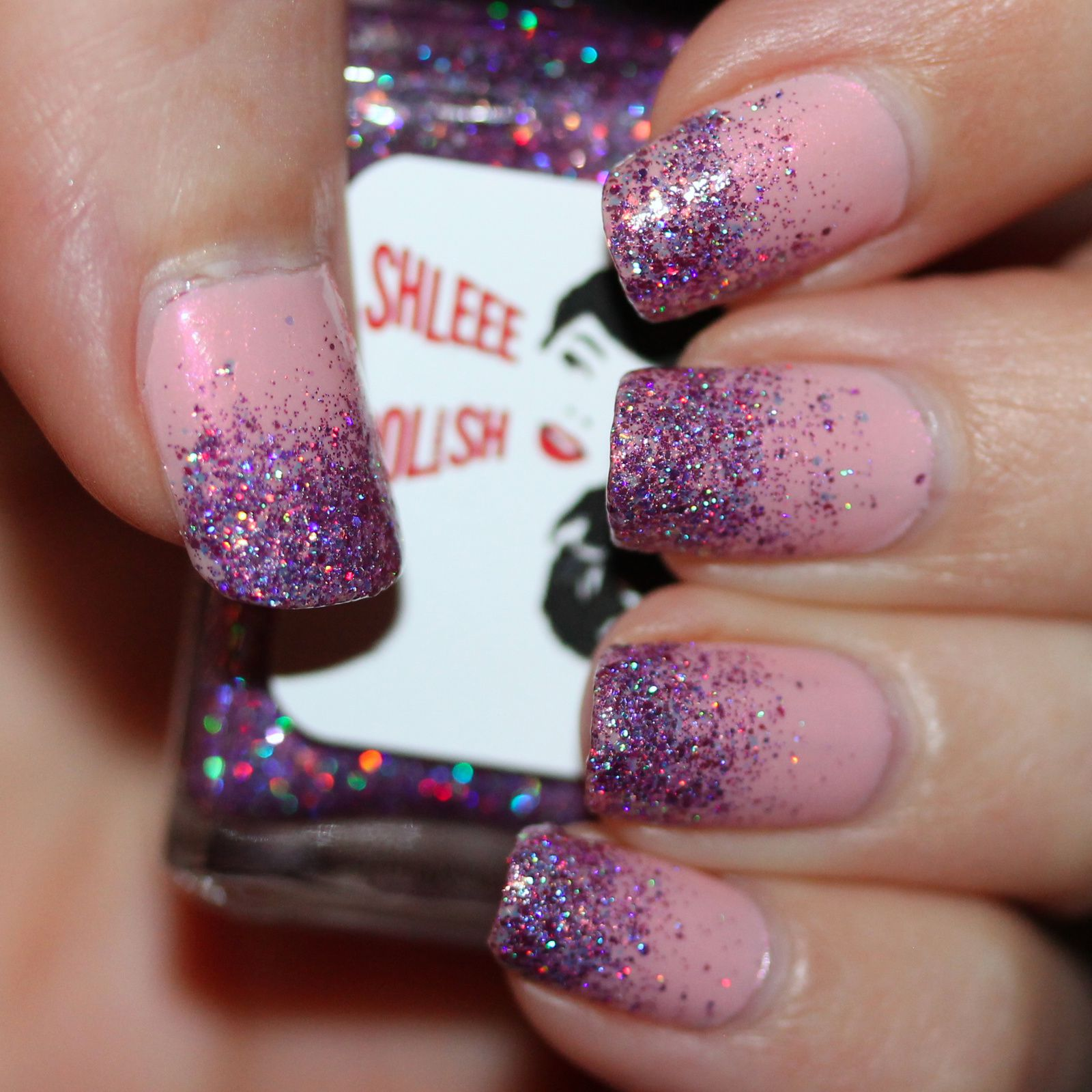 Essie Protein Base Coat / China Glaze Eat, Pink, Be Merry / Shleee Polish Orchid Fire / Poshe Top Coat