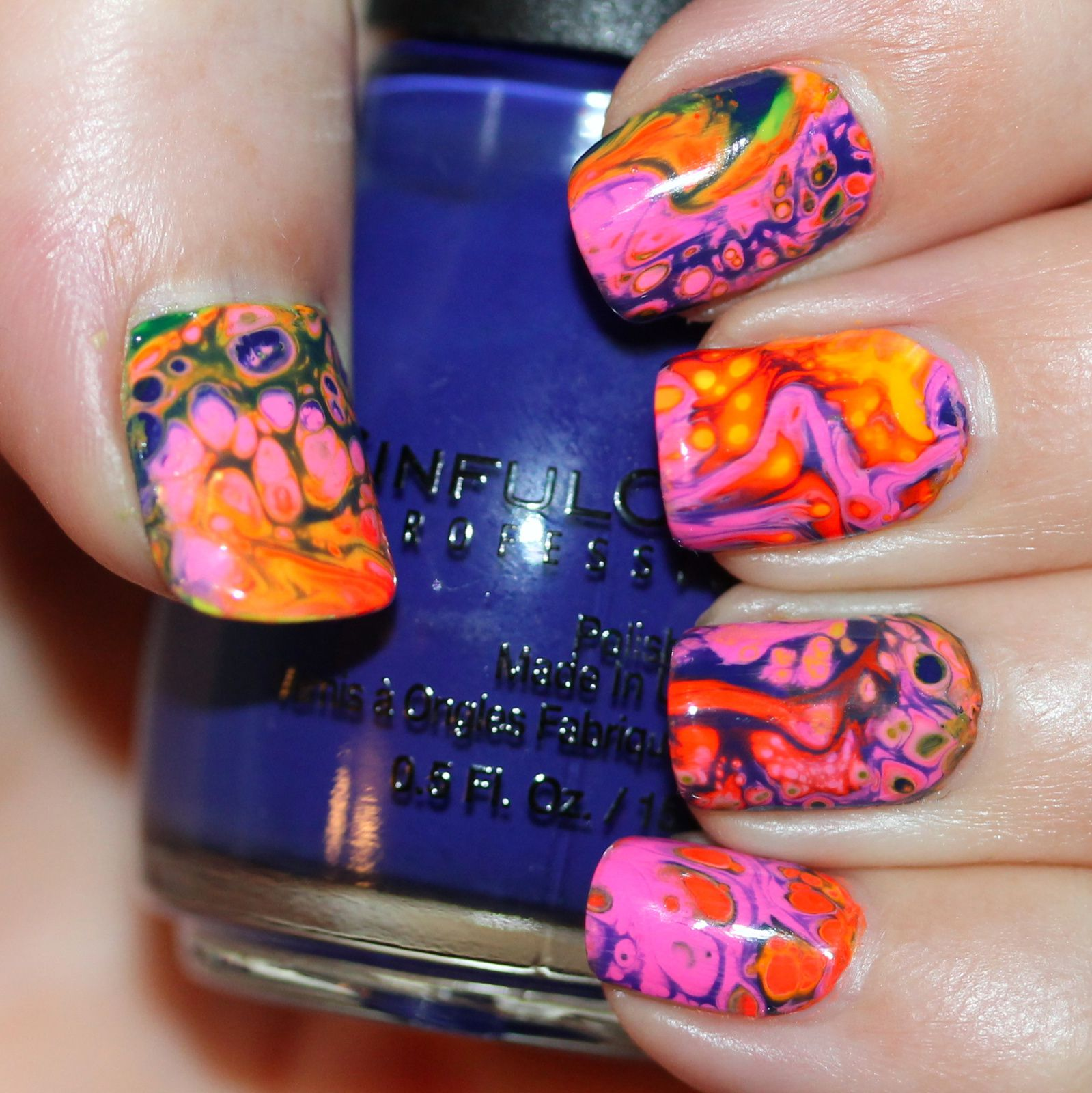 Essie Protein Base Coat / Finger Paints Base Coat for Neons / Fluid Nail Art Feat. Sinful Colors Hypnotic Transforming Top Coat in Rebel Rebel, PIXI Oh So Orange, Paradise Pink, Fluoro Flamingp & POP Beauty Yllow and Mandarin / HK Girl Top Coat