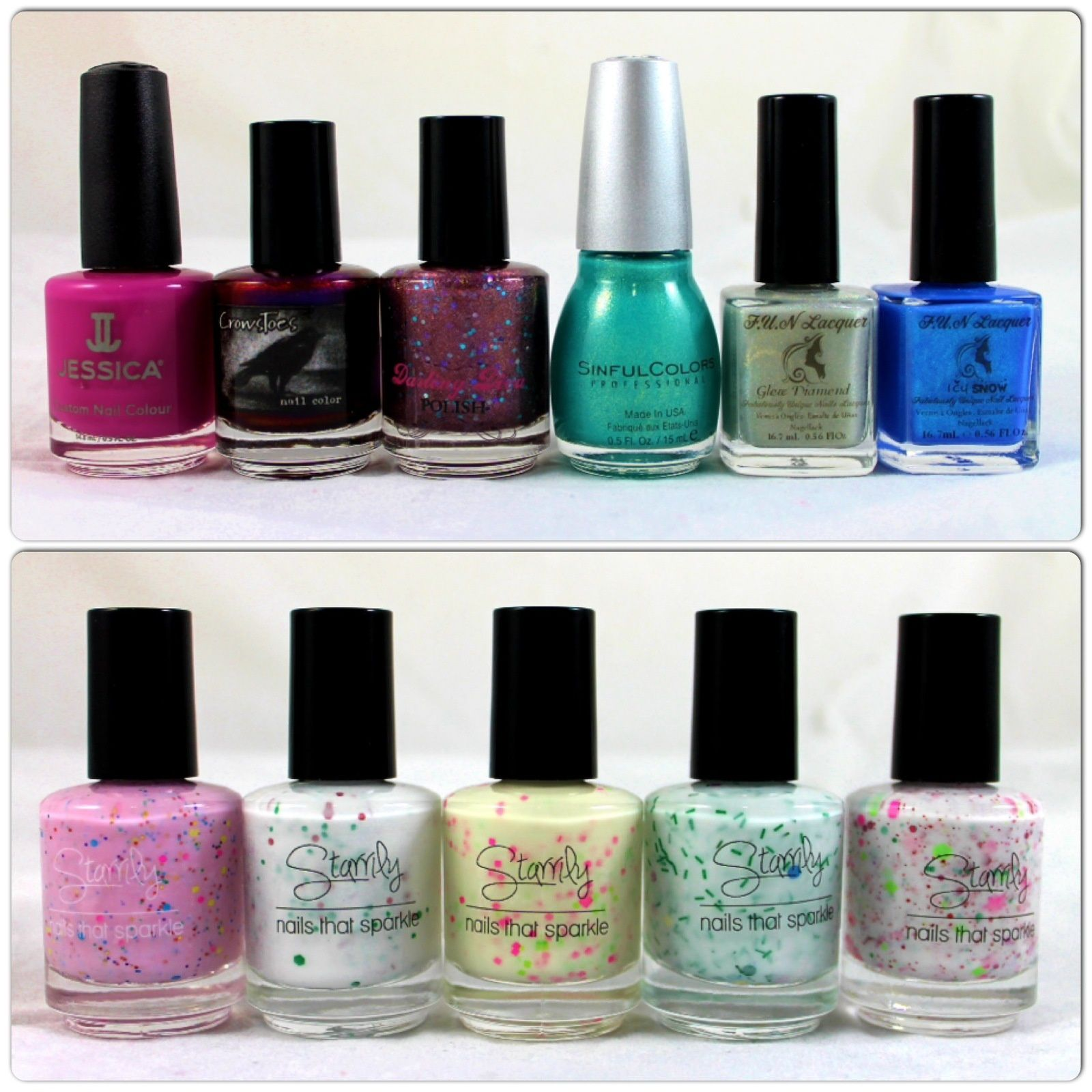 Jessica Color Me Calli Lily, Crowstoes Indian Summer, Darling Diva Polish Intimate Secret, Sinful Colors Treasure Chest,, FUN Lacquer Glow Diamond / Icy Snow, Starrily Strawberry Donut / Holly Day / Poprocks / O Christmas Tree /  Barbie's First Christmas