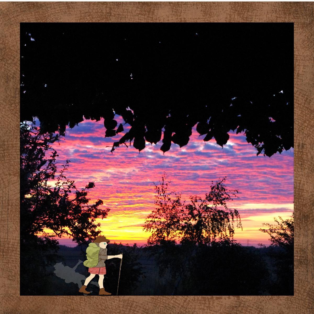 J'étais heureuse de voir ce beau lever de soleil, qui a la décence de ne pas paraître trop tôt en cette fin d'été ! L'ombre n'est pas très réaliste, considérons que c'est une licence poétique ! petit hommage à l'homme aux semelles de vent !